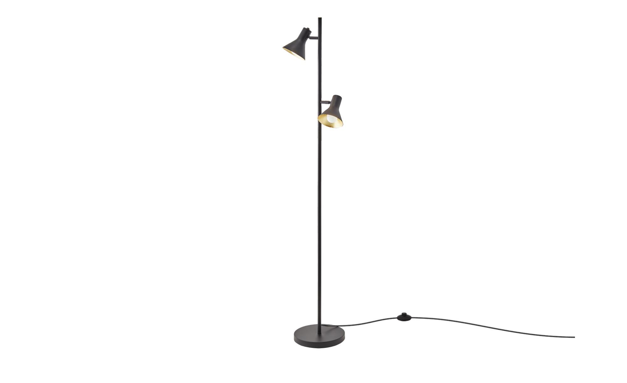 Trio Stehleuchte, 2-flammig, schwarz/goldfarb. ¦ schwarz ¦ Maße (cm): H: 144 Ø: [23.0] Lampen & Leuchten > Innenleuchten > Stehlampen - Höffner