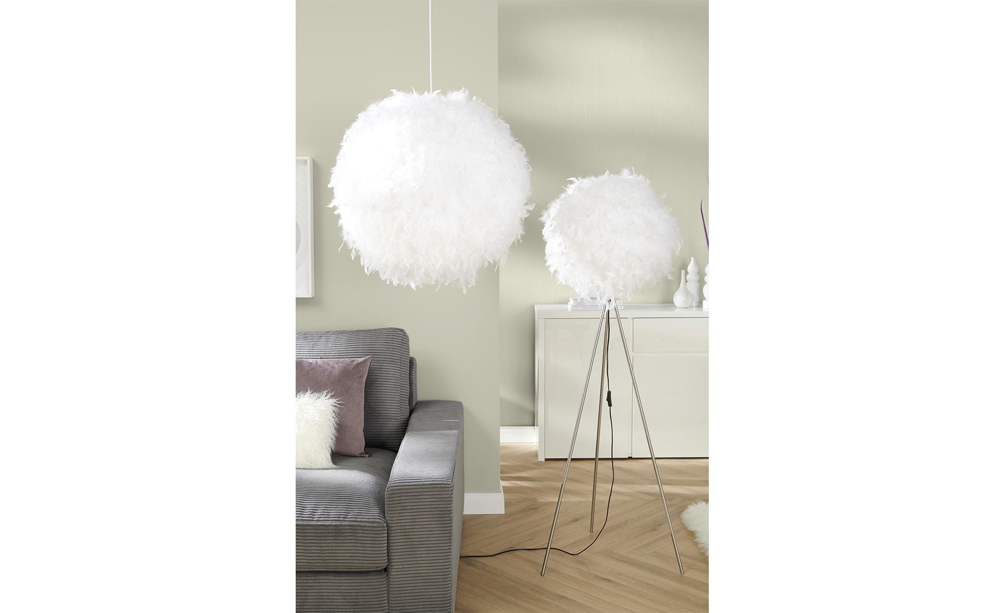Stehleuchte, 1-flammig, Schirm aus Federn ¦ weiß ¦ Maße (cm): H: 150 Ø: 40 Lampen & Leuchten > Innenleuchten > Stehlampen - Höffner