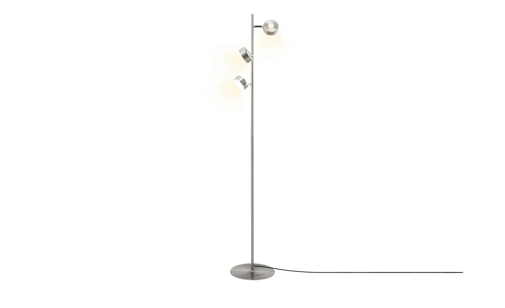 KHG LED-Stehleuchte, Nickel matt ¦ silber ¦ Maße (cm): H: 140 Ø: [25.0] Lampen & Leuchten > Innenleuchten > Stehlampen - Höffner