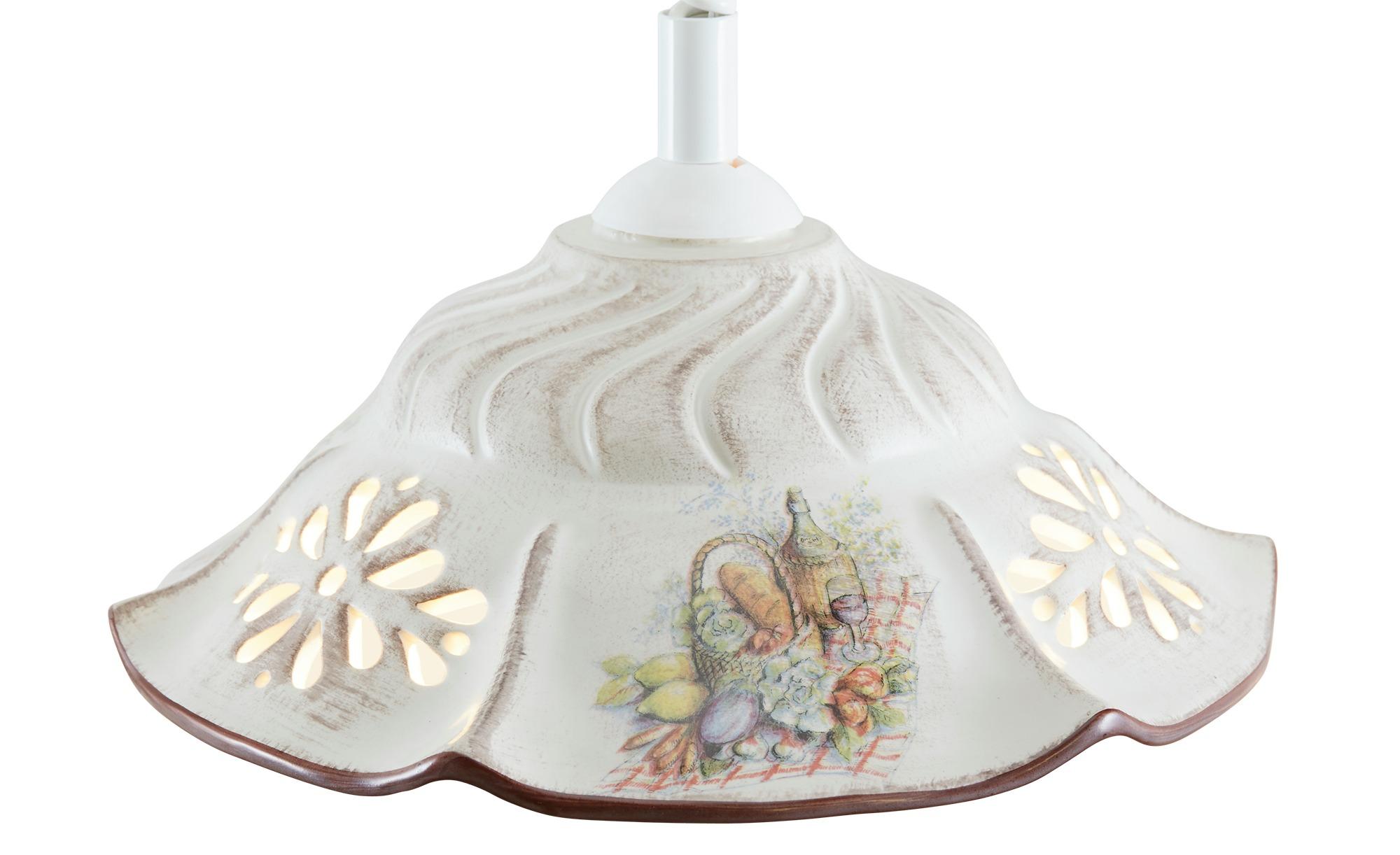 Keramik-Pendelleuchte, 1-flammig, ´Picknick` ¦ weiß ¦ Maße (cm): H: 100 Ø: 38 Lampen & Leuchten > Innenleuchten > Pendelleuchten - Höffner