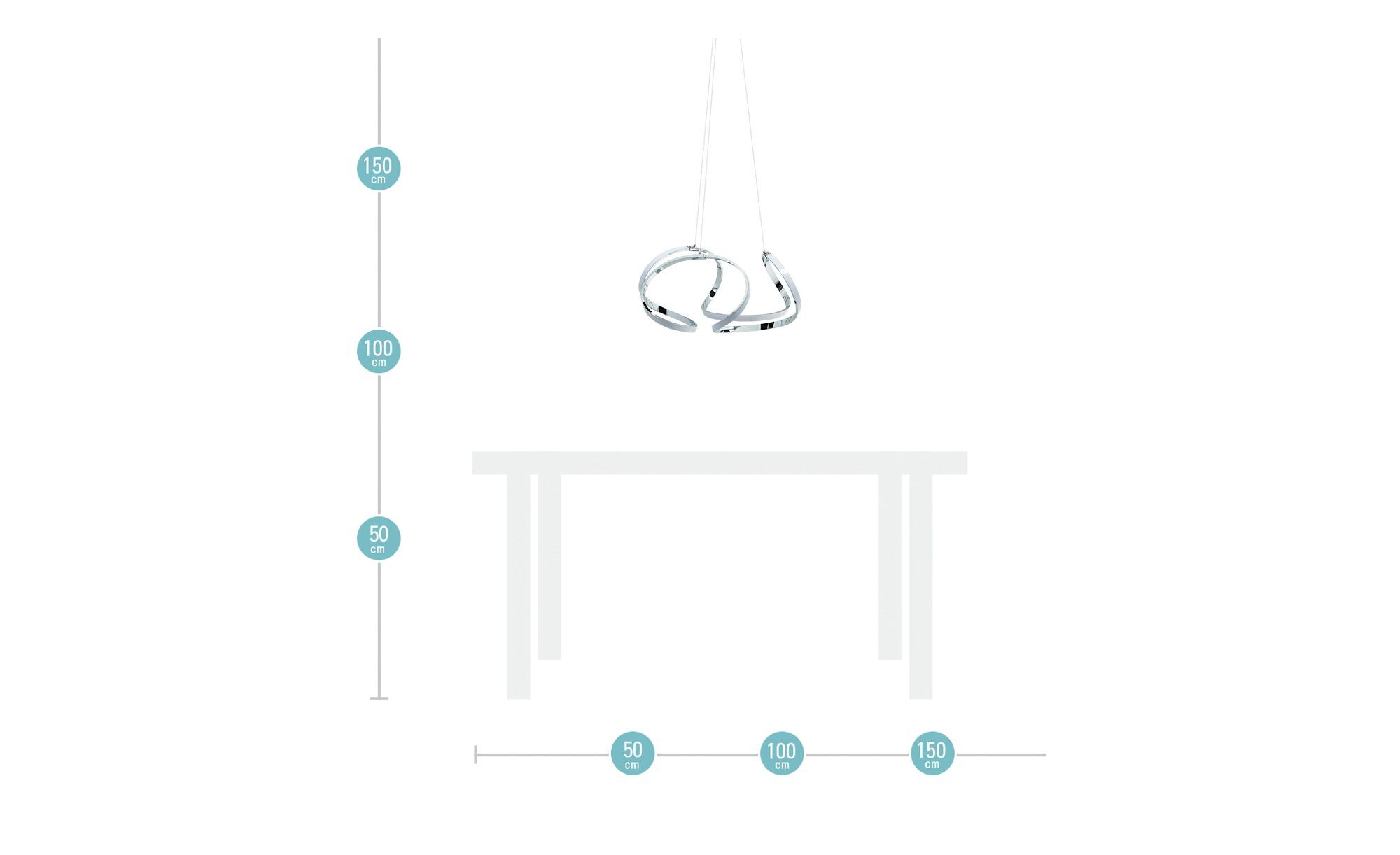 KHG LED-Pendelleuchte, geschwungen ¦ silber ¦ Maße (cm): H: 150 Ø: 52 Lampen & Leuchten > LED-Leuchten > LED-Pendelleuchten - Höffner