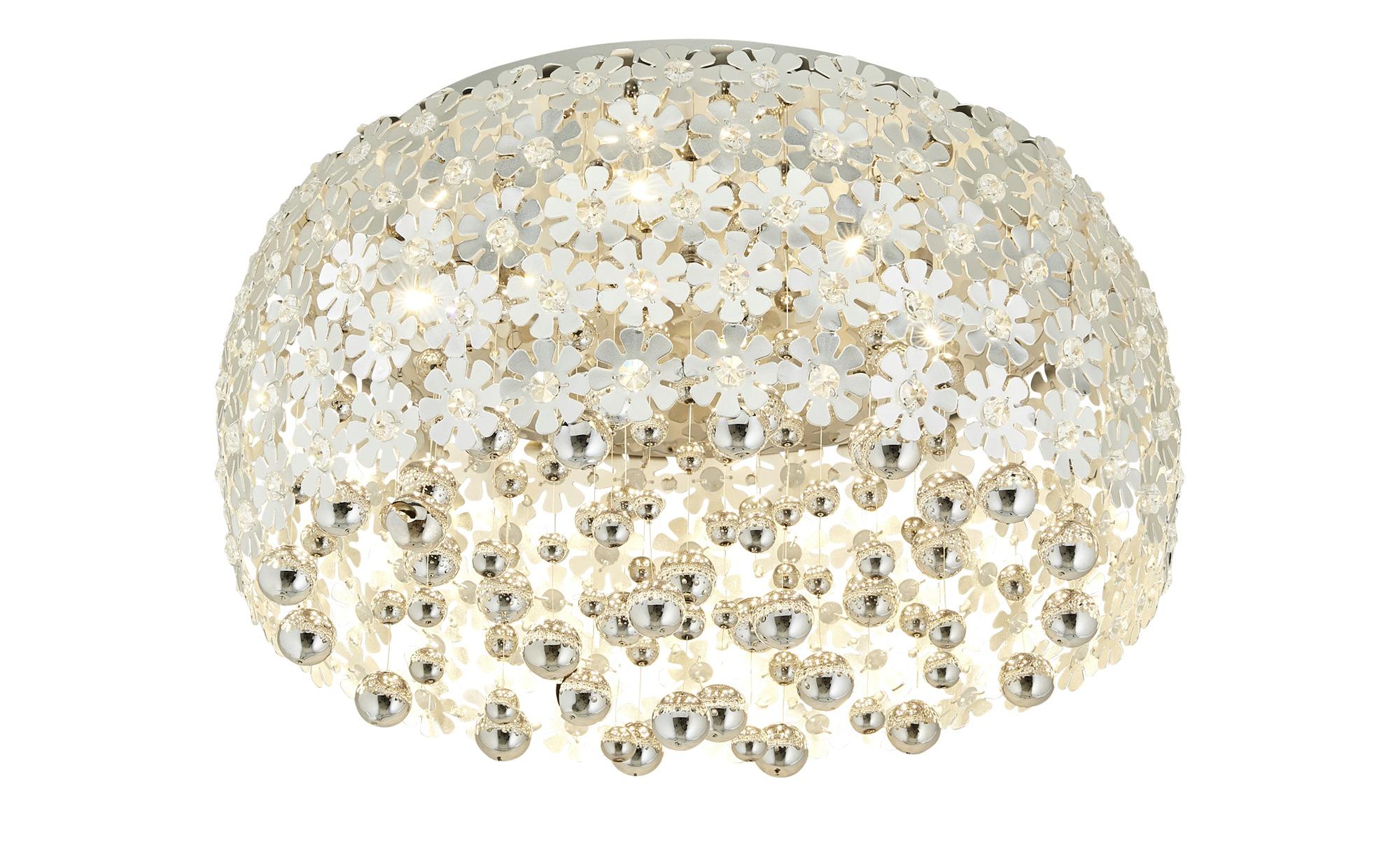 KHG LED-Deckenleuchte mit Behang ¦ silber ¦ Maße (cm): H: 32 Ø: [50.0] Lampen & Leuchten > Innenleuchten > Deckenleuchten - Höffner