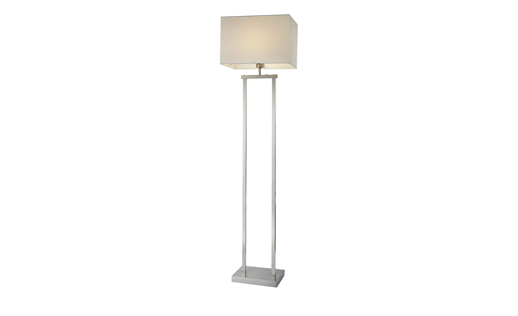 Stehleuchte, Stoffschirm in eckig ¦ silber ¦ Maße (cm): B: 27 H: 150 Lampen & Leuchten > Innenleuchten > Stehlampen - Höffner