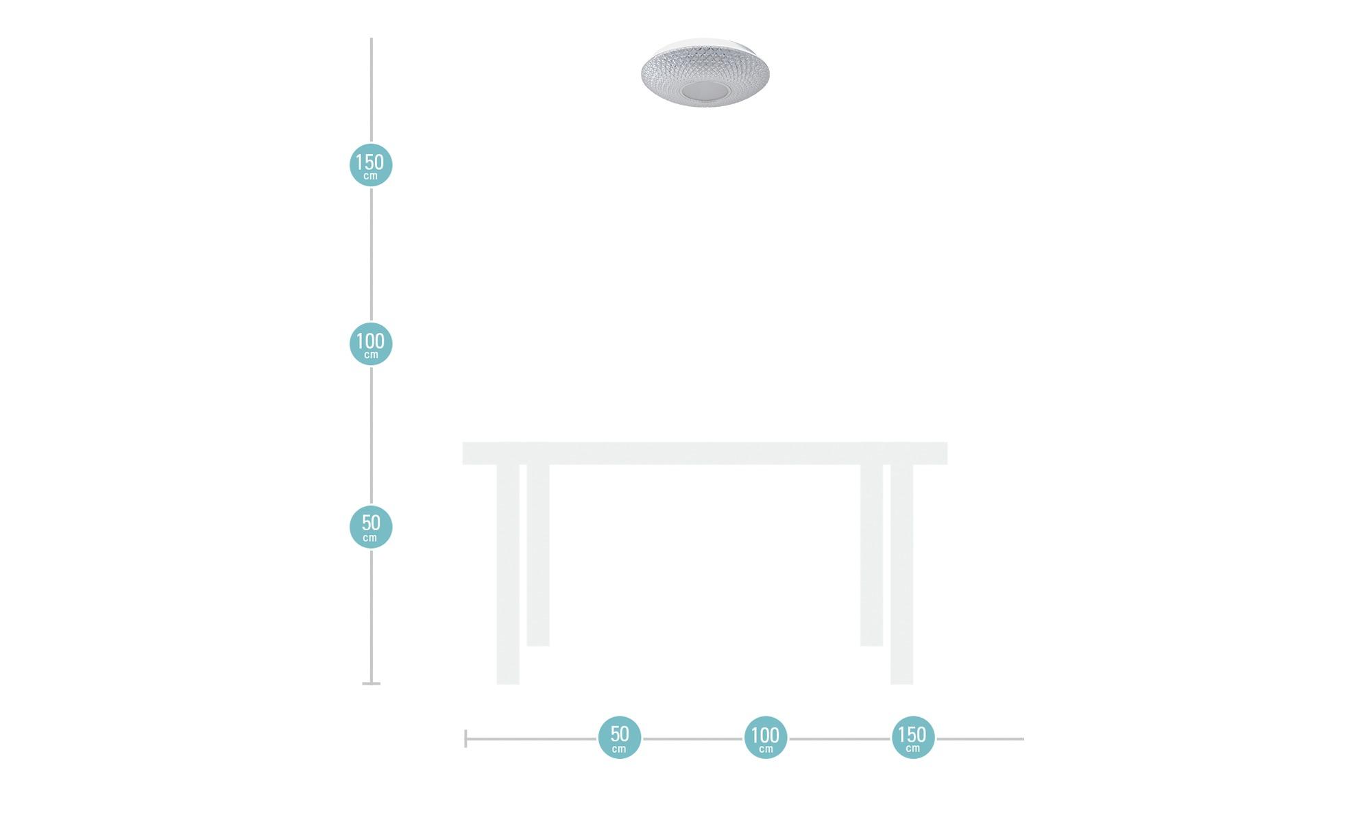 KHG LED-Deckenleuchte, Acrylglas in Kristalloptik ¦ transparent/klar ¦ Maße (cm): H: 10 Ø: 41 Lampen & Leuchten > Innenleuchten > Deckenleuchten - Höffner
