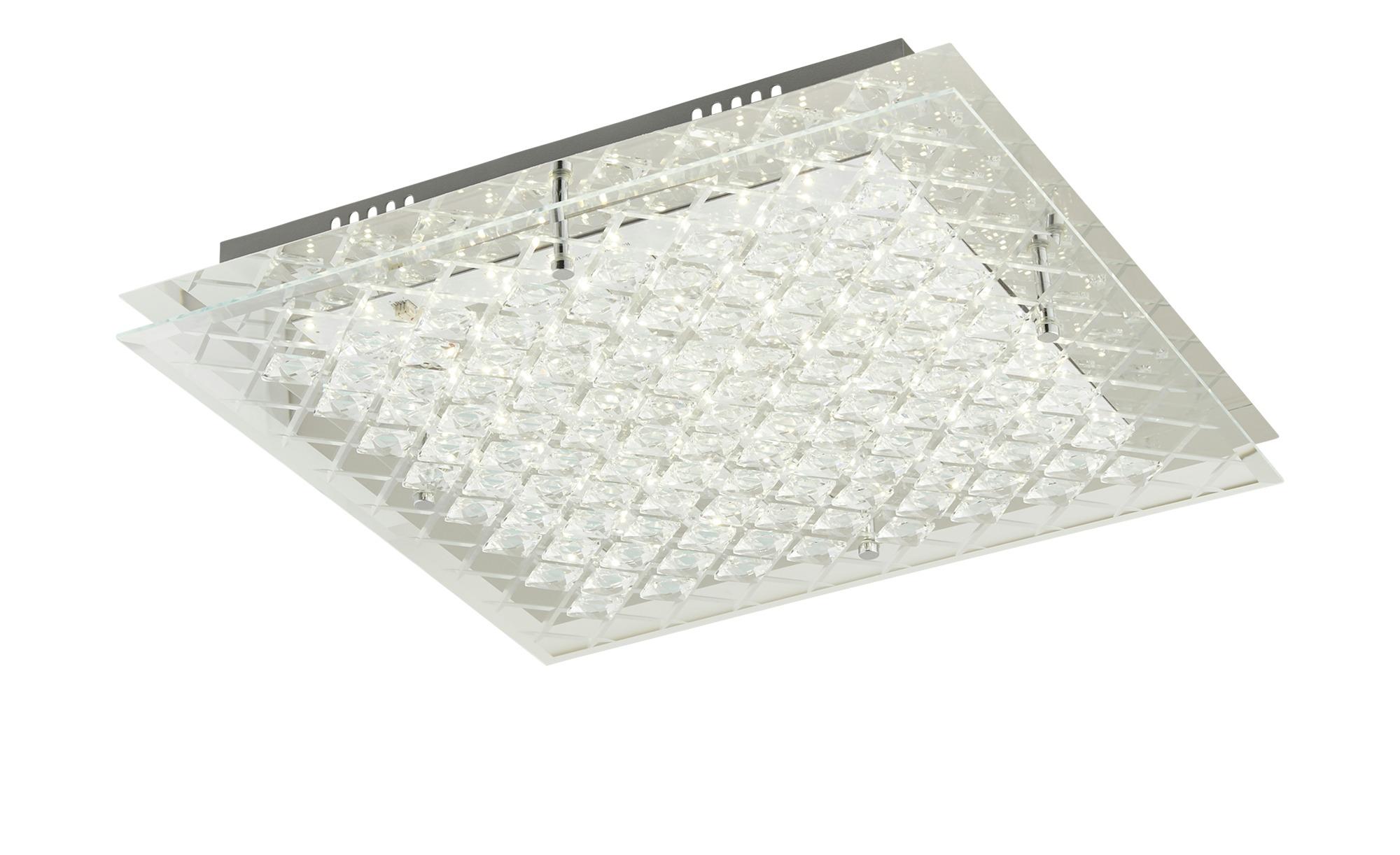KHG LED-Deckenleuchte mit Glasverzierung ¦ silber ¦ Maße (cm): B: 43 H: 8 Lampen & Leuchten > Innenleuchten > Deckenleuchten - Höffner