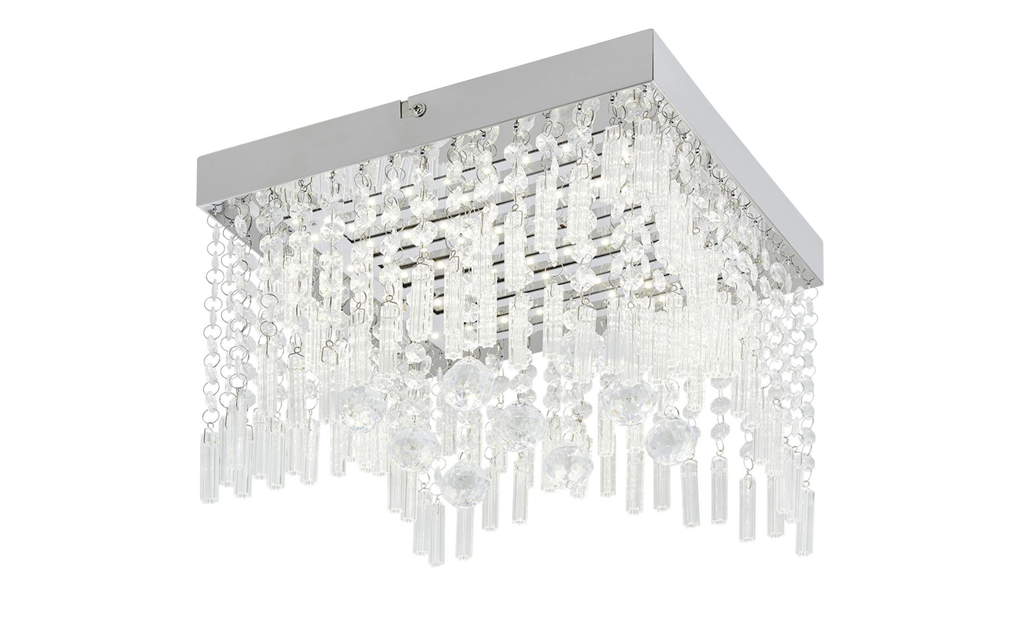KHG LED-Deckenleuchte mit Kristallglasbehang ¦ silber ¦ Maße (cm): B: 30 H: 24,5 Lampen & Leuchten > Innenleuchten > Deckenleuchten - Höffner