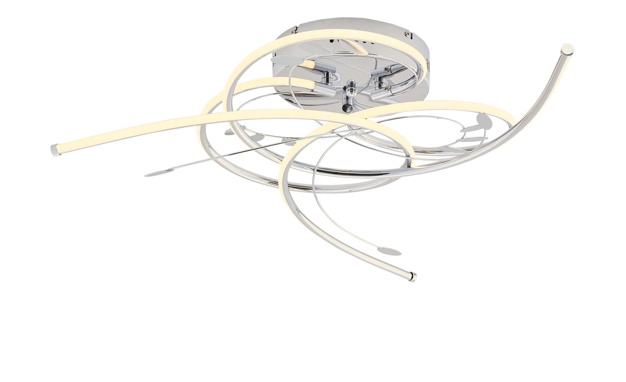 KHG LED-Deckenleuchte, chrom, mit Blattdeko ¦ silber ¦ Maße (cm): H: 11 Ø: [62.0] Lampen & Leuchten > Innenleuchten > Deckenleuchten - Höffner