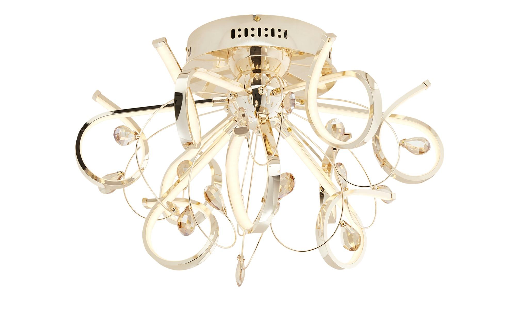 KHG LED-Deckenleuchte, goldfarben mit Dekosteinen ¦ gold ¦ Maße (cm): H: 35 Ø: [57.0] Lampen & Leuchten > Innenleuchten > Deckenleuchten - Höffner