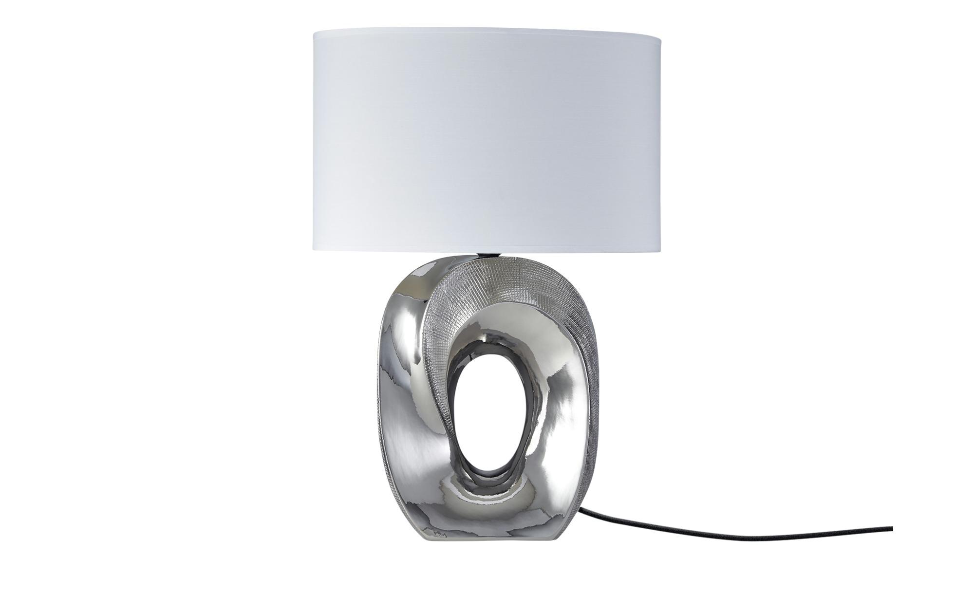 KHG Tischleuchte, Stoffschirm oval ¦ silber ¦ Maße (cm): B: 21 H: 53,5 Lampen & Leuchten > Innenleuchten > Tischlampen - Höffner
