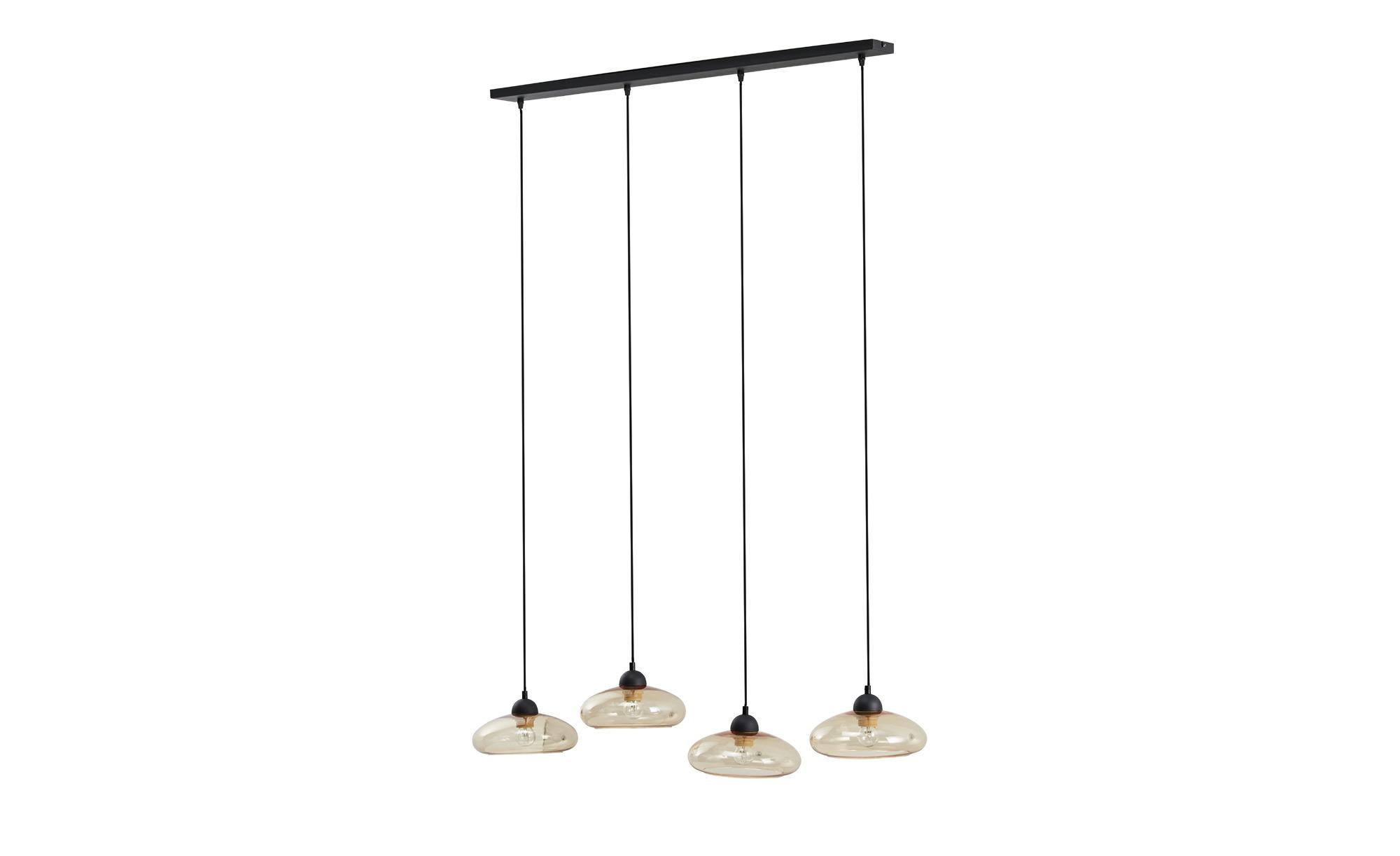 Pendelleuchte, 4-flammig, schwarz/Glas bernsteinfarben ¦ schwarz ¦ Maße (cm): B: 120 H: 100 T: 10 Lampen & Leuchten > Innenleuchten > Pendelleuchten - Höffner