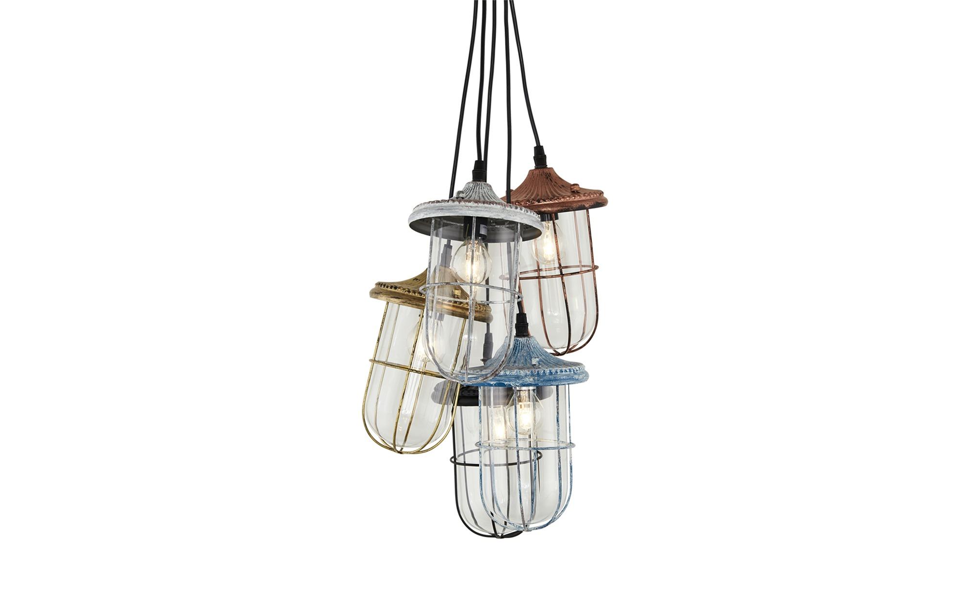 Trio Pendelleuchte, 5-flammig mit verschiedenen Schirmen ¦ mehrfarbig ¦ Maße (cm): H: 120 Ø: 30 Lampen & Leuchten > Innenleuchten > Pendelleuchten - Höffner