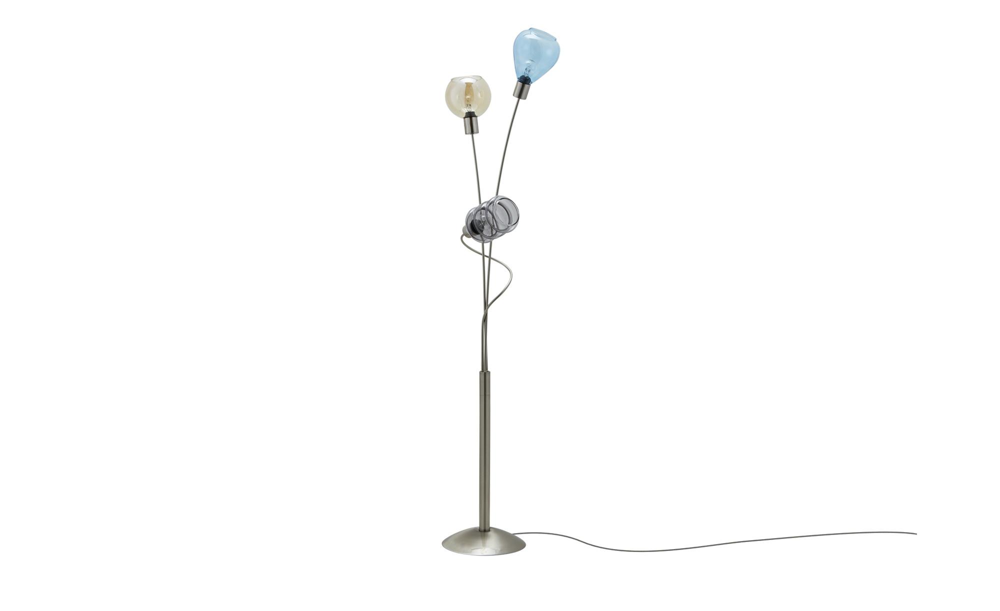 Stehleuchte, 3-flammig, Gläser in bunt ¦ silber ¦ Maße (cm): H: 155 Lampen & Leuchten > Innenleuchten > Stehlampen - Höffner