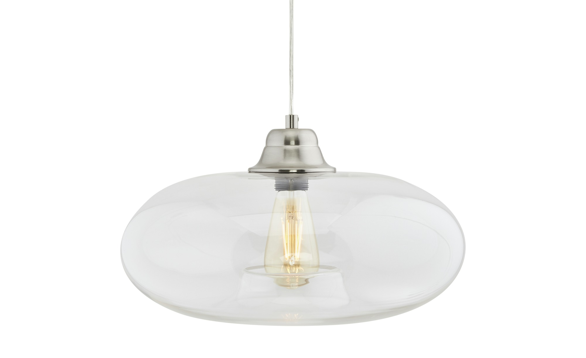 Glaspendelleuchte, 1-flammig ¦ transparent/klar ¦ Maße (cm): H: 150 Ø: [40.0] Lampen & Leuchten > Innenleuchten > Pendelleuchten - Höffner