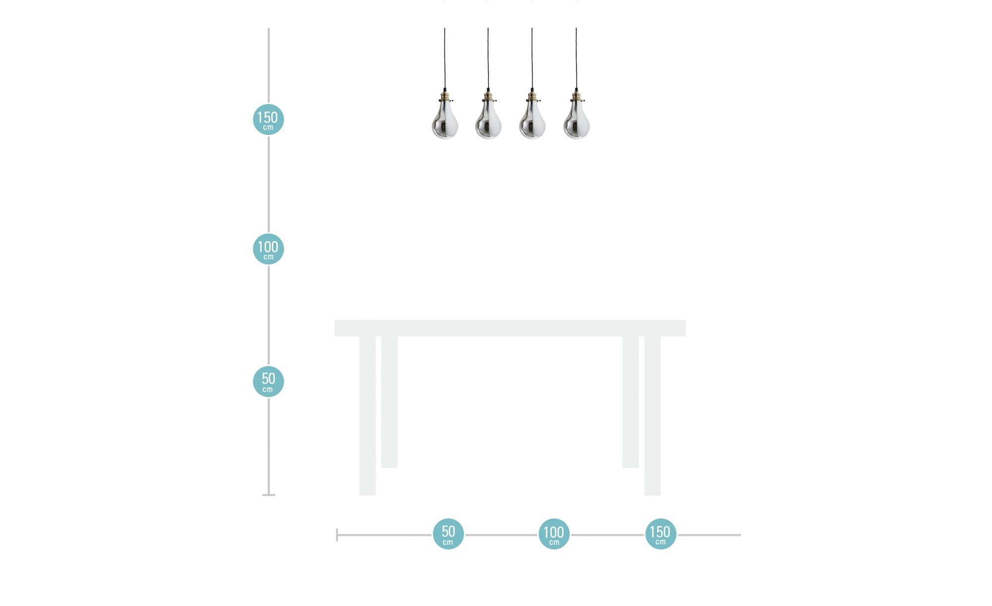 HOME STORY Pendelleuchte, 4-flammig ¦ gold ¦ Maße (cm): B: 70 H: 130 T: 13 Lampen & Leuchten > Innenleuchten > Pendelleuchten - Höffner
