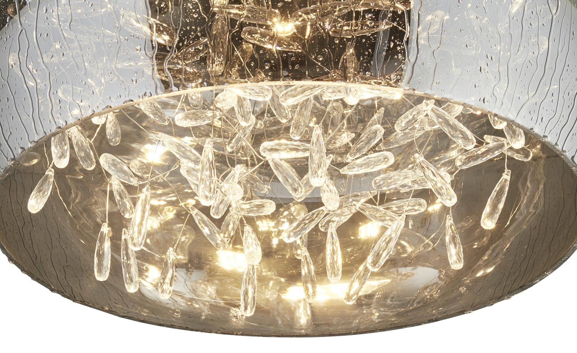 HOME STORY LED-Deckenleuchte, Rauchglas mit Acryltropfen ¦ silber ¦ Maße (cm): H: 31 Ø: 39.5 Lampen & Leuchten > Innenleuchten > Deckenleuchten - Höffner