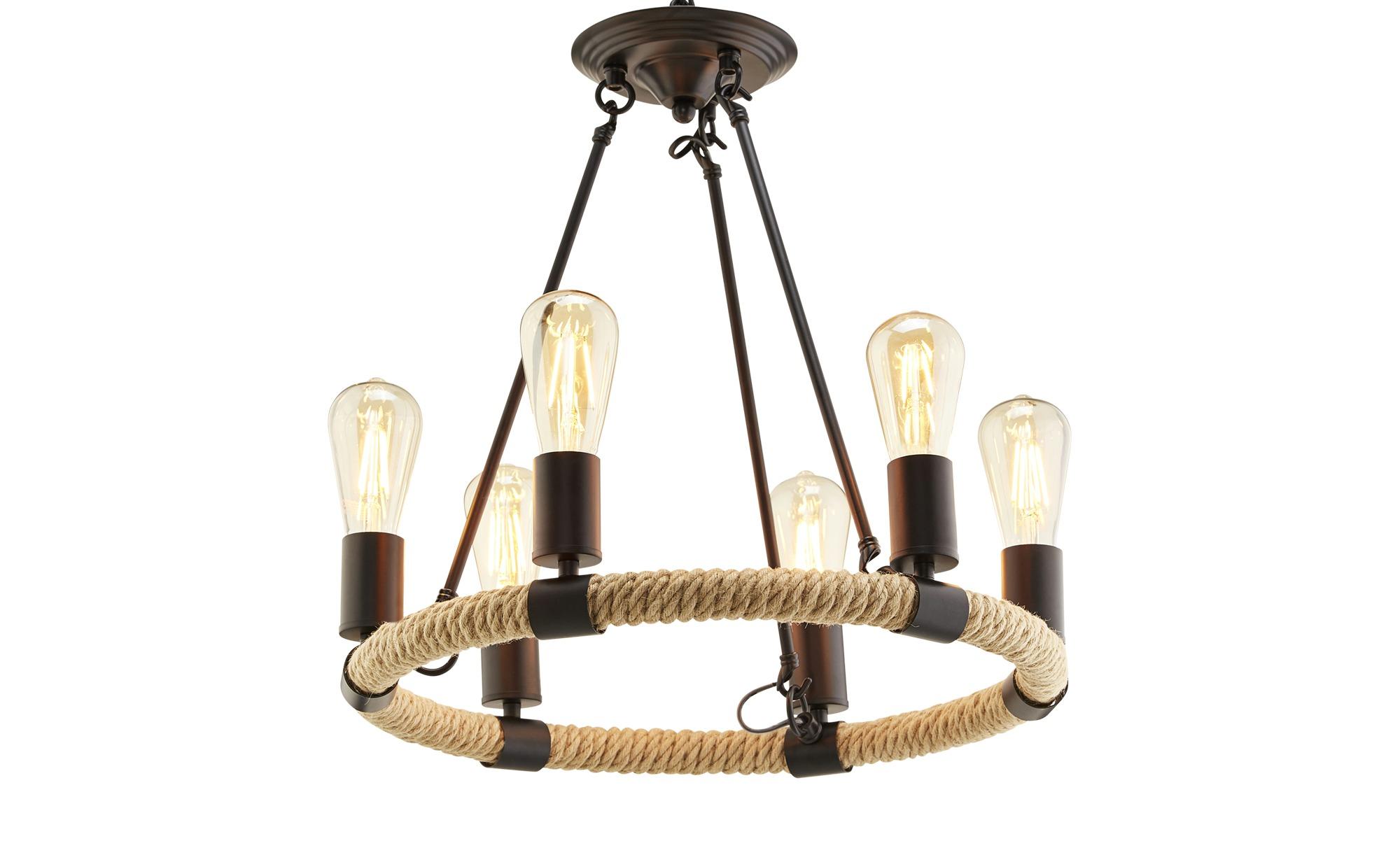 Hängeleuchte, 6-flammig ¦ schwarz ¦ Maße (cm): H: 126 Ø: 49.5 Lampen & Leuchten > Innenleuchten > Pendelleuchten - Höffner