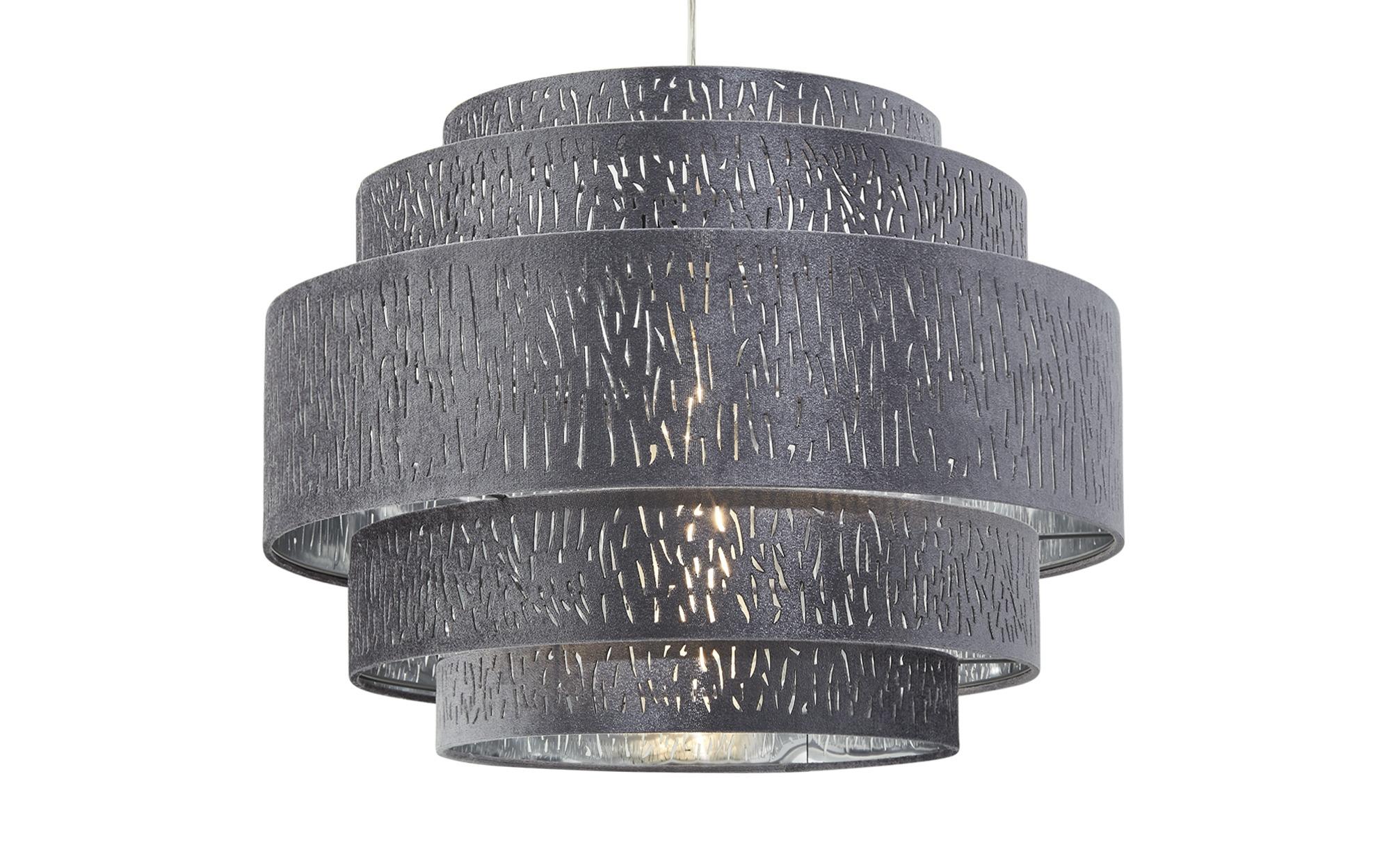 Pendelleuchte, 1-flammig, Stoffschirm grau/silber ¦ silber ¦ Maße (cm): H: 140 Ø: 50 Lampen & Leuchten > Innenleuchten > Pendelleuchten - Höffner
