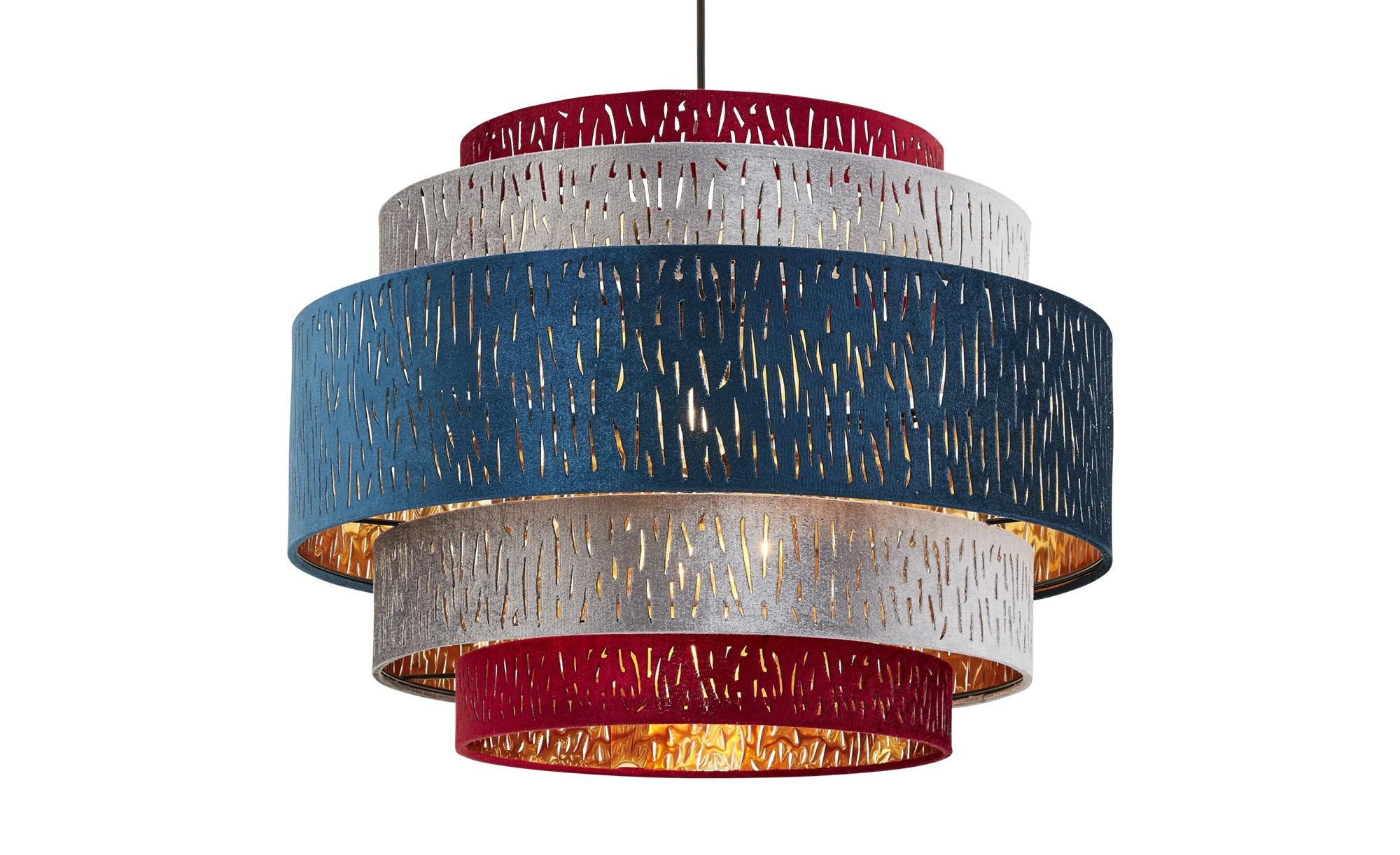 Pendelleuchte, 1-flammig, Samtschirm multicolour ¦ mehrfarbig ¦ Maße (cm): H: 140 Ø: 50 Lampen & Leuchten > Innenleuchten > Pendelleuchten - Höffner