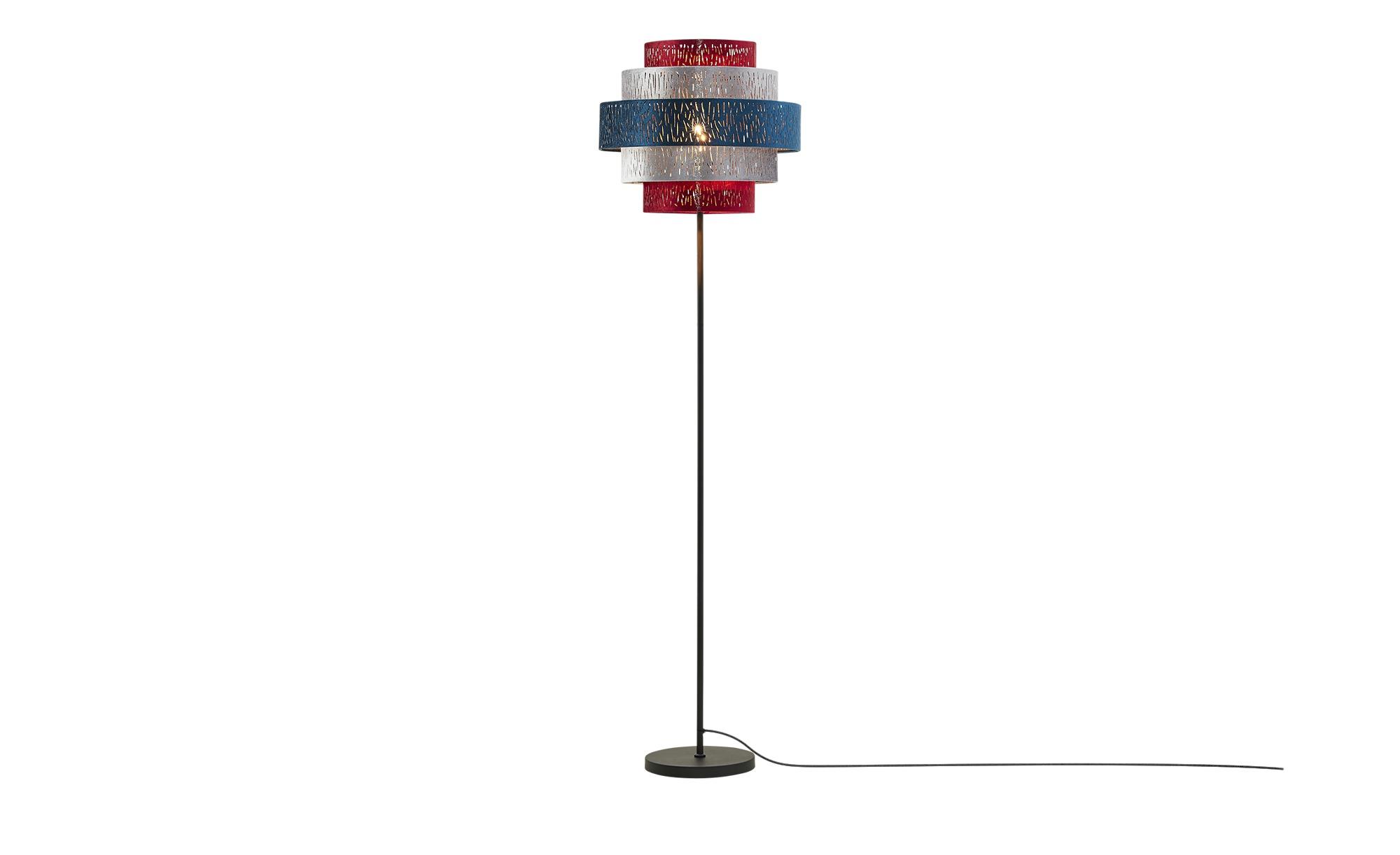 Stehleuchte, 1-flammig, Samtschirm multicolour ¦ Maße (cm): H: 160 Ø: 45 Lampen & Leuchten > Innenleuchten > Stehlampen - Höffner