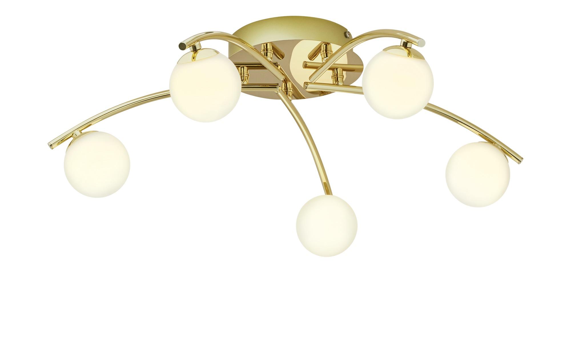 KHG LED-Deckenleuchte, 5-flammig, Messing blank ¦ gold ¦ Maße (cm): H: 18,5 Ø: [57.0] Lampen & Leuchten > Innenleuchten > Deckenleuchten - Höffner
