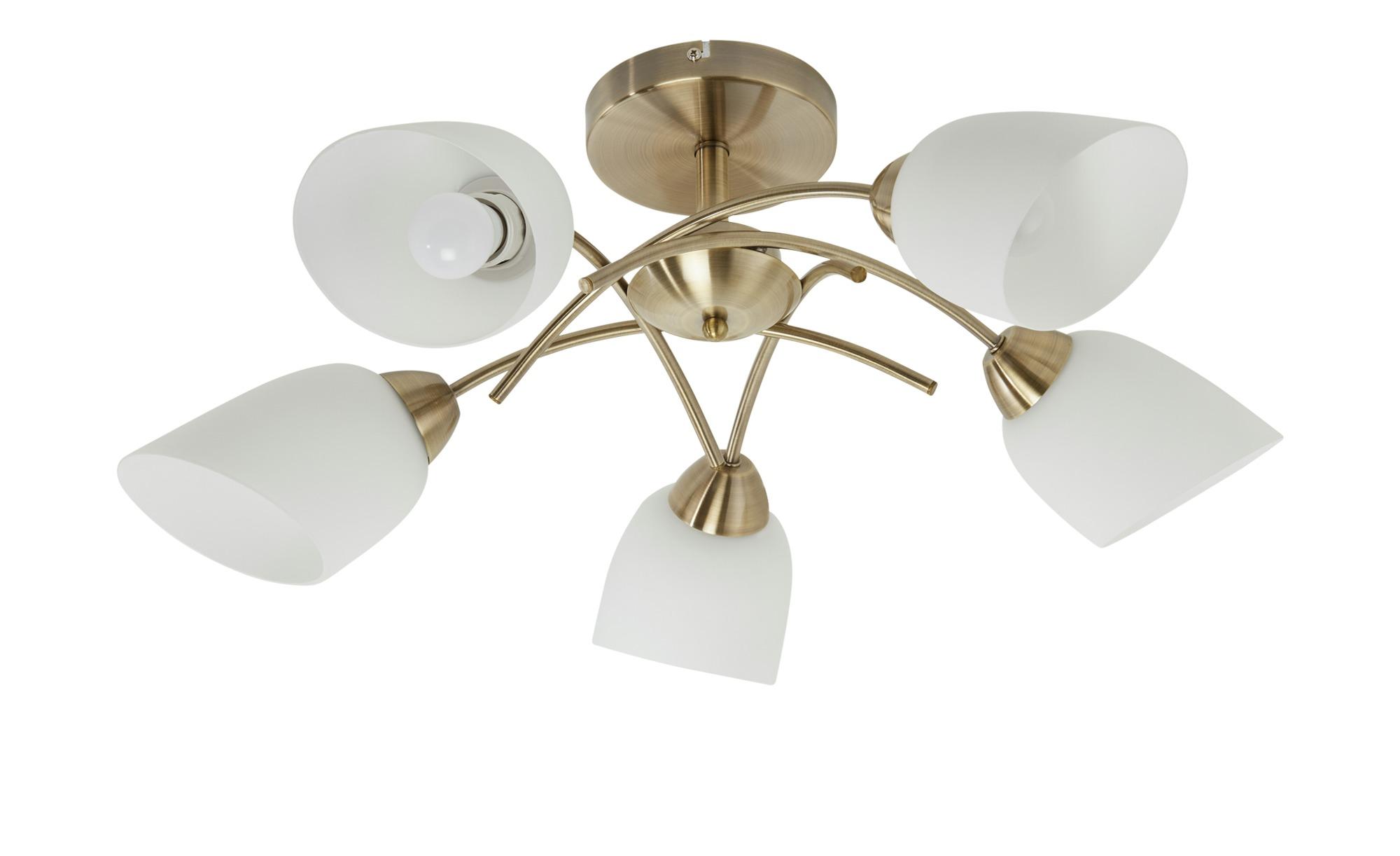 Deckenleuchte, 5-flammig, fume´/ Glas alabaster ¦ gold ¦ Maße (cm): H: 33 Ø: 70 Lampen & Leuchten > Innenleuchten > Deckenleuchten - Höffner