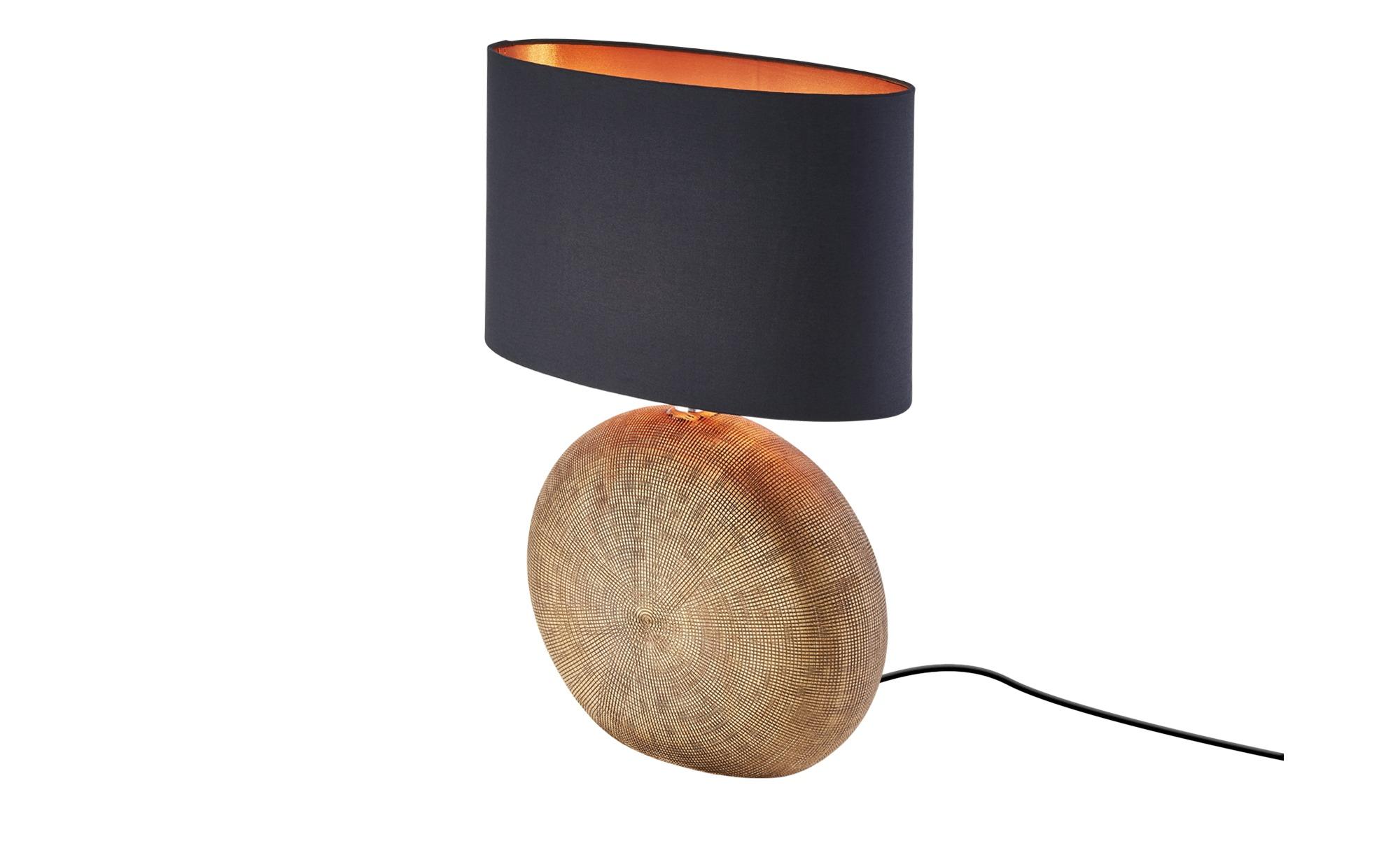 Keramik-Tischleuchte, 1-flammig, Schirm oval ¦ gold ¦ Maße (cm): B: 17 H: 53 Lampen & Leuchten > Innenleuchten > Tischlampen - Höffner