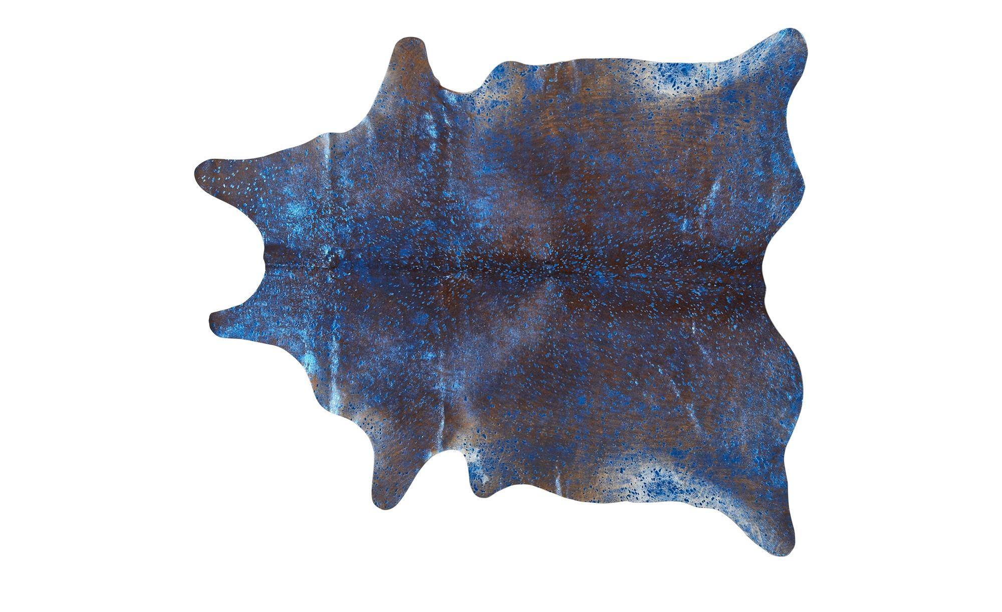 Rinderfell - Unikat  Pop Art ¦ blau ¦ Rinderfell Teppiche > Wohnteppiche - Höffner