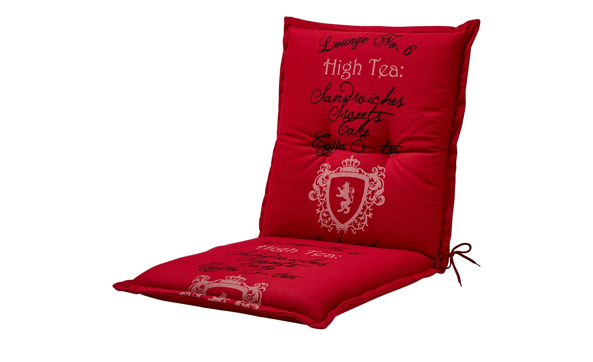 Niederlehnerauflage  High Tea Cherry ¦ rot ¦ 85% Baumwolle / 15% Polyester ¦ Maße (cm): B: 50 H: 6 Garten > Auflagen & Kissen > Niederlehner-Auflagen - Höffner