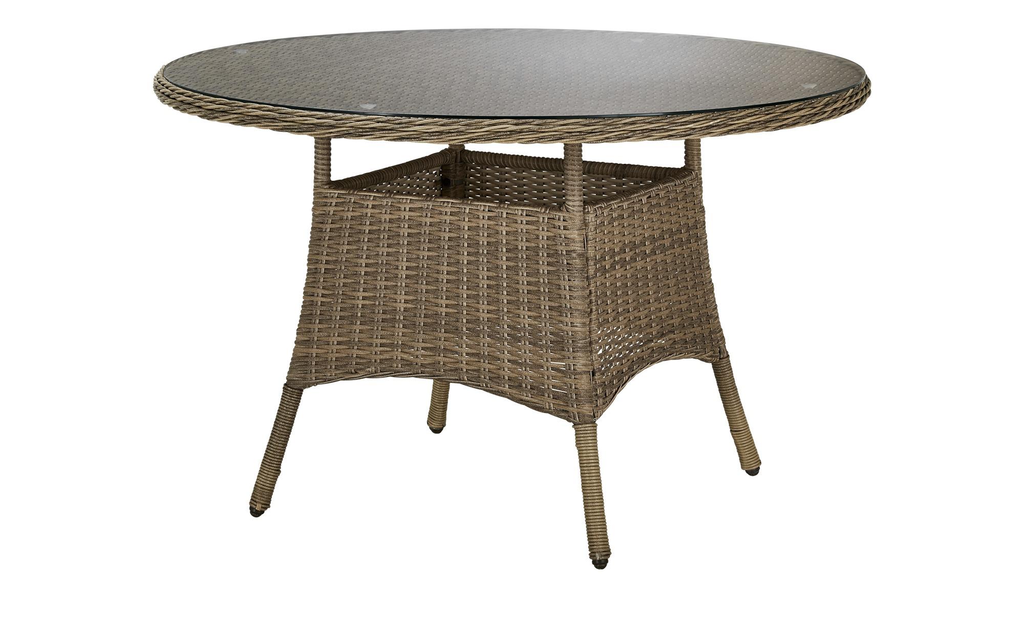 a casa mia Tisch  Florenz 2 ¦ creme ¦ Aluminium pulverbeschichtet/ PE-Geflecht ¦ Maße (cm): H: 75 Ø: 120 Garten > Gartenmöbel > Gartentische - Höffner