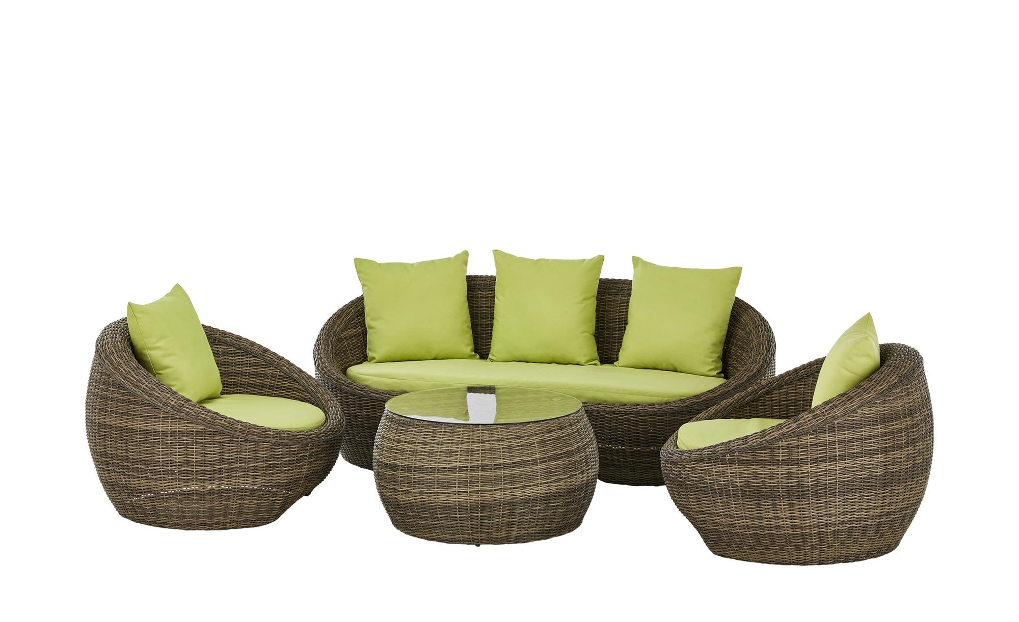 Loungeset  Cremona ¦ braun ¦ Aluminium pulverbeschichtet/ PE-Geflecht Garten > Gartenmöbel > Gartenmöbel Sets - Höffner
