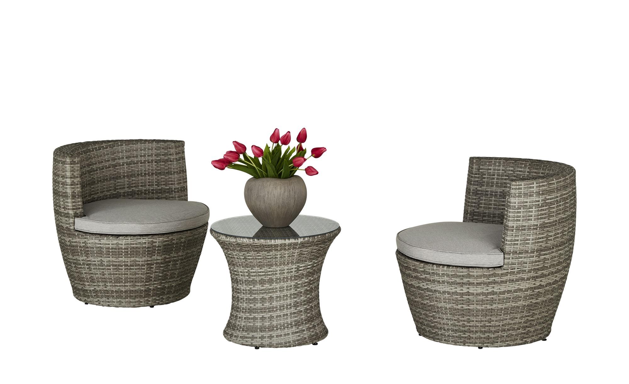 Garten-Sitzgruppe  Vaasa ¦ grau ¦ Aluminium pulverbeschichtet/ PE-Geflecht Garten > Gartenmöbel > Gartenmöbel Sets - Höffner