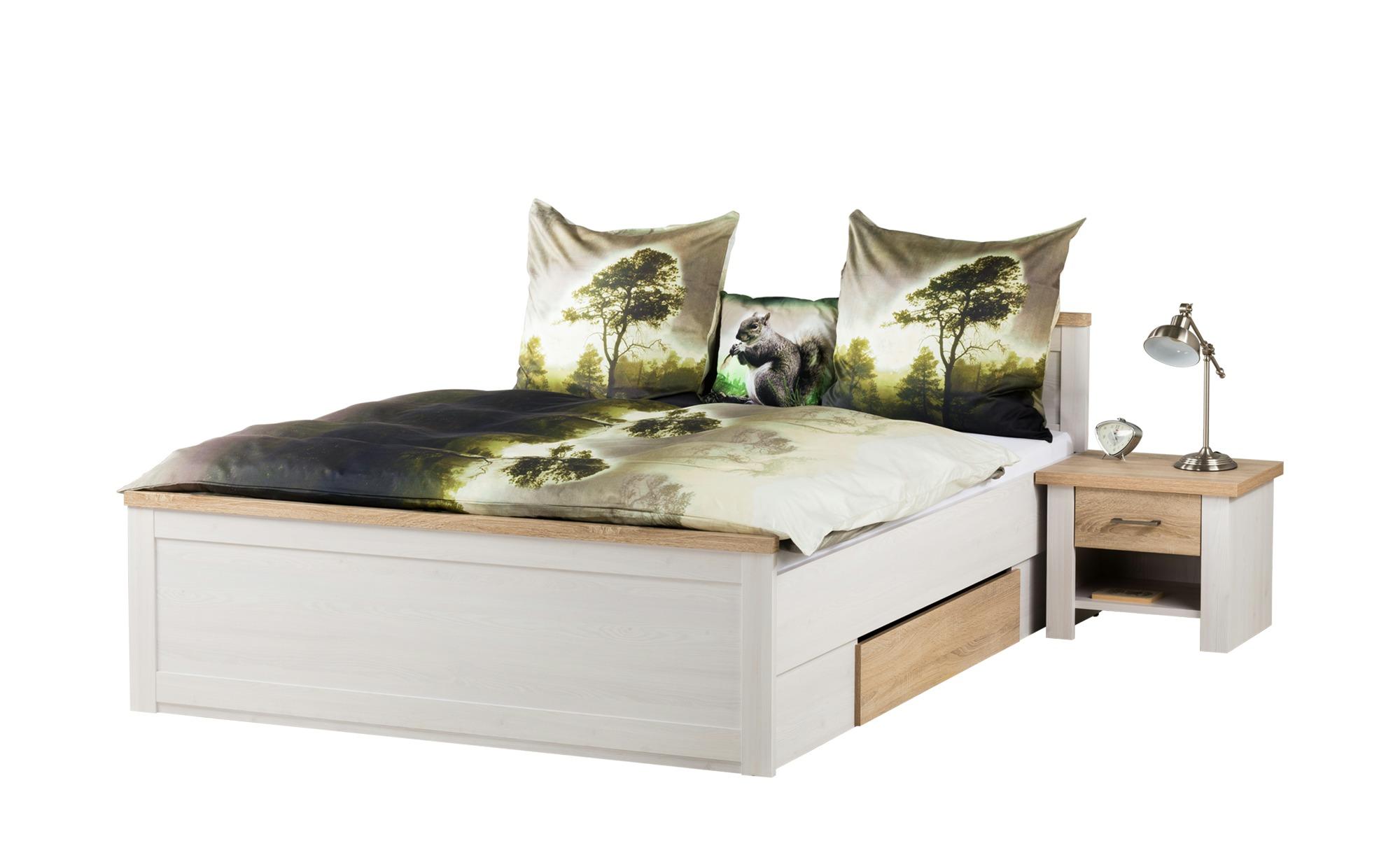 Bett mit 2 Nachtkommoden 180x200 - weiß - Eiche (Optik) - Landhaus-Stil Lancaster ¦ weiß ¦ Maße (cm): B: 306 H: 91 T: 205 Betten > Futonbetten - Höffner