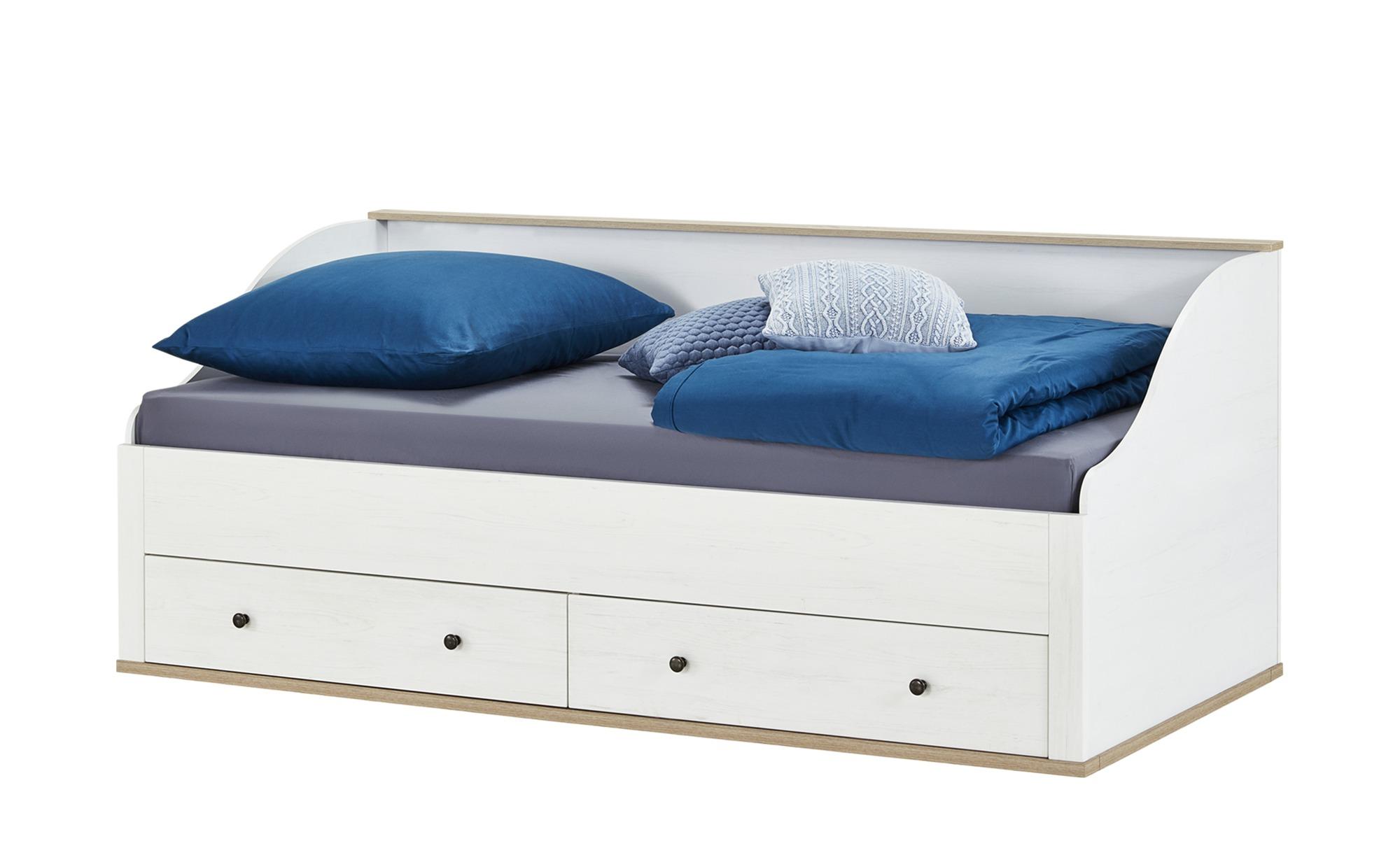 bett mit 2 schubk sten 90x200 wei l rche optik carmen. Black Bedroom Furniture Sets. Home Design Ideas