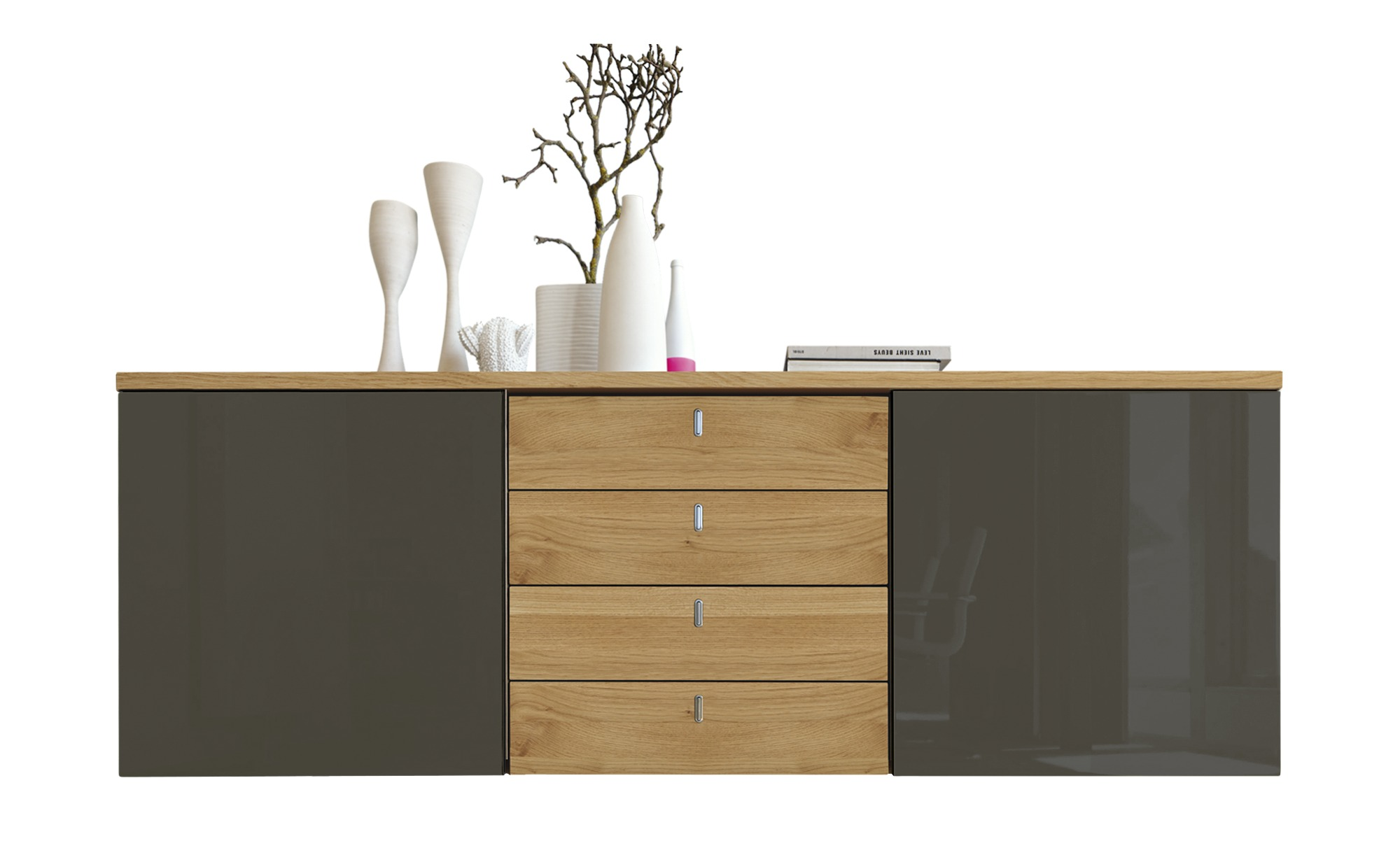 now by h lsta sideboard h lsta now time natureiche grau. Black Bedroom Furniture Sets. Home Design Ideas
