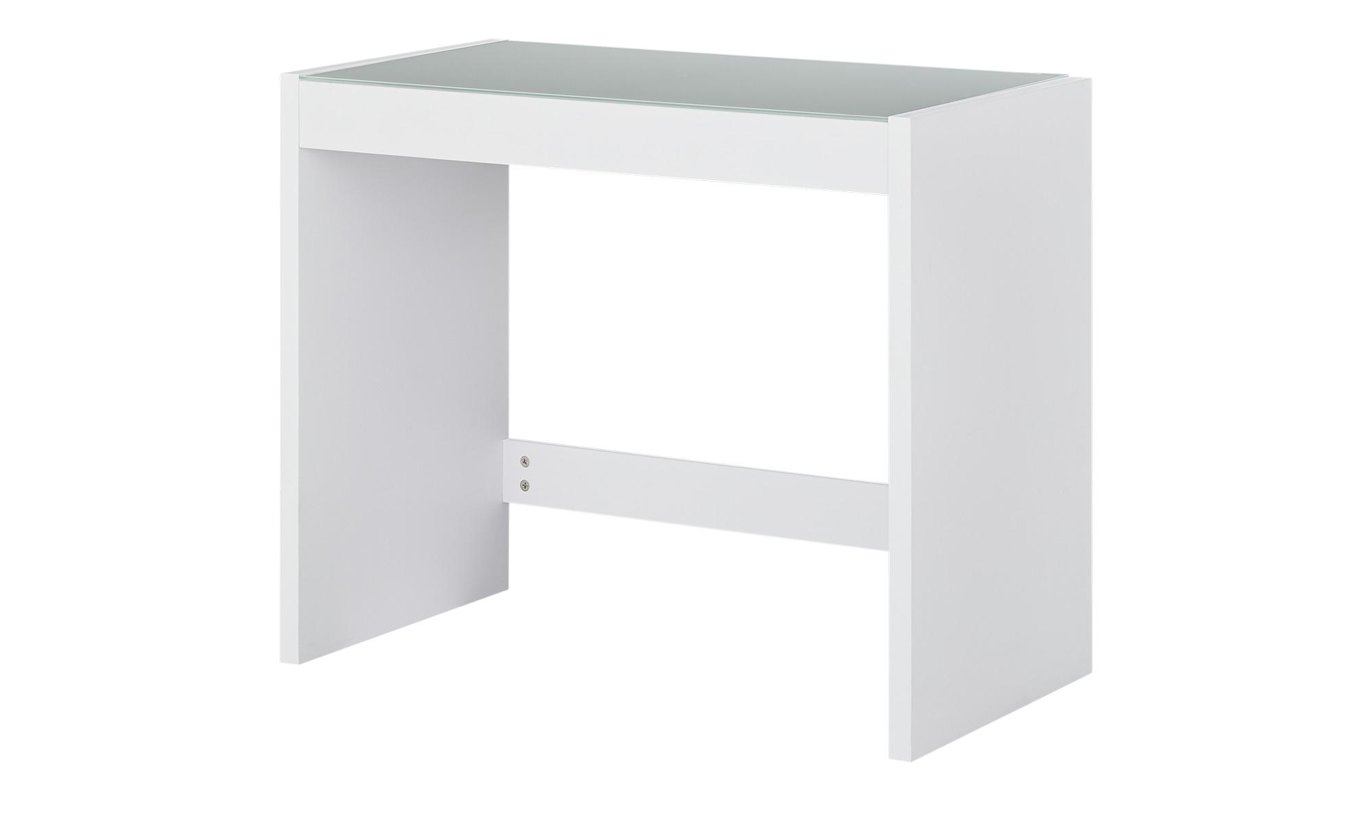 Schreibtisch mit Glasplatte  Demer ¦ weiß ¦ Maße (cm): B: 90 H: 75 T: 48 Tische > Schreibtische - Höffner