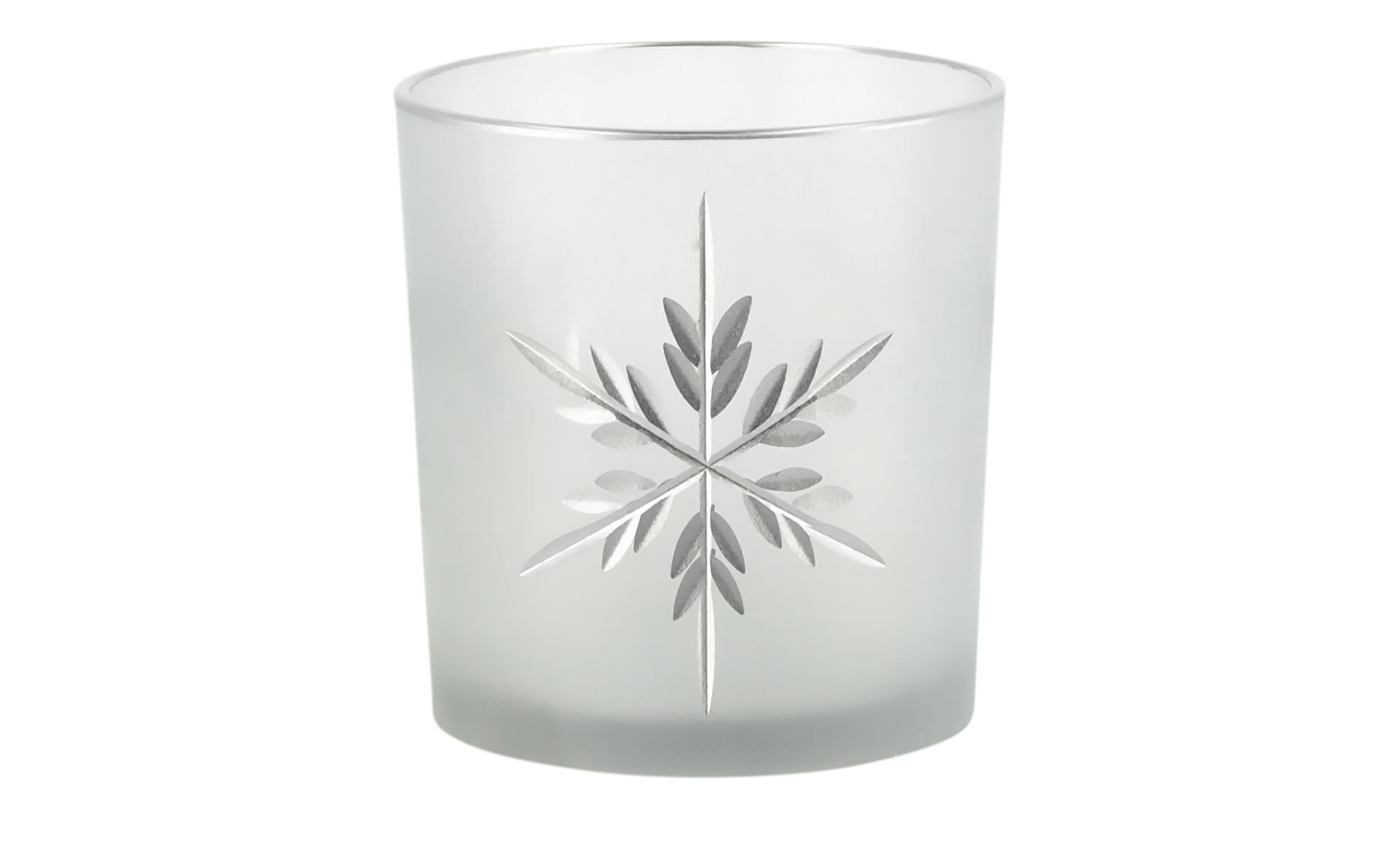 Teelichthalter  Eiskristall ¦ weiß ¦ Glas  ¦ Maße (cm): H: 8 Ø: 7 Dekoration > Kerzen & Lichter > Kerzenständer - Höffner