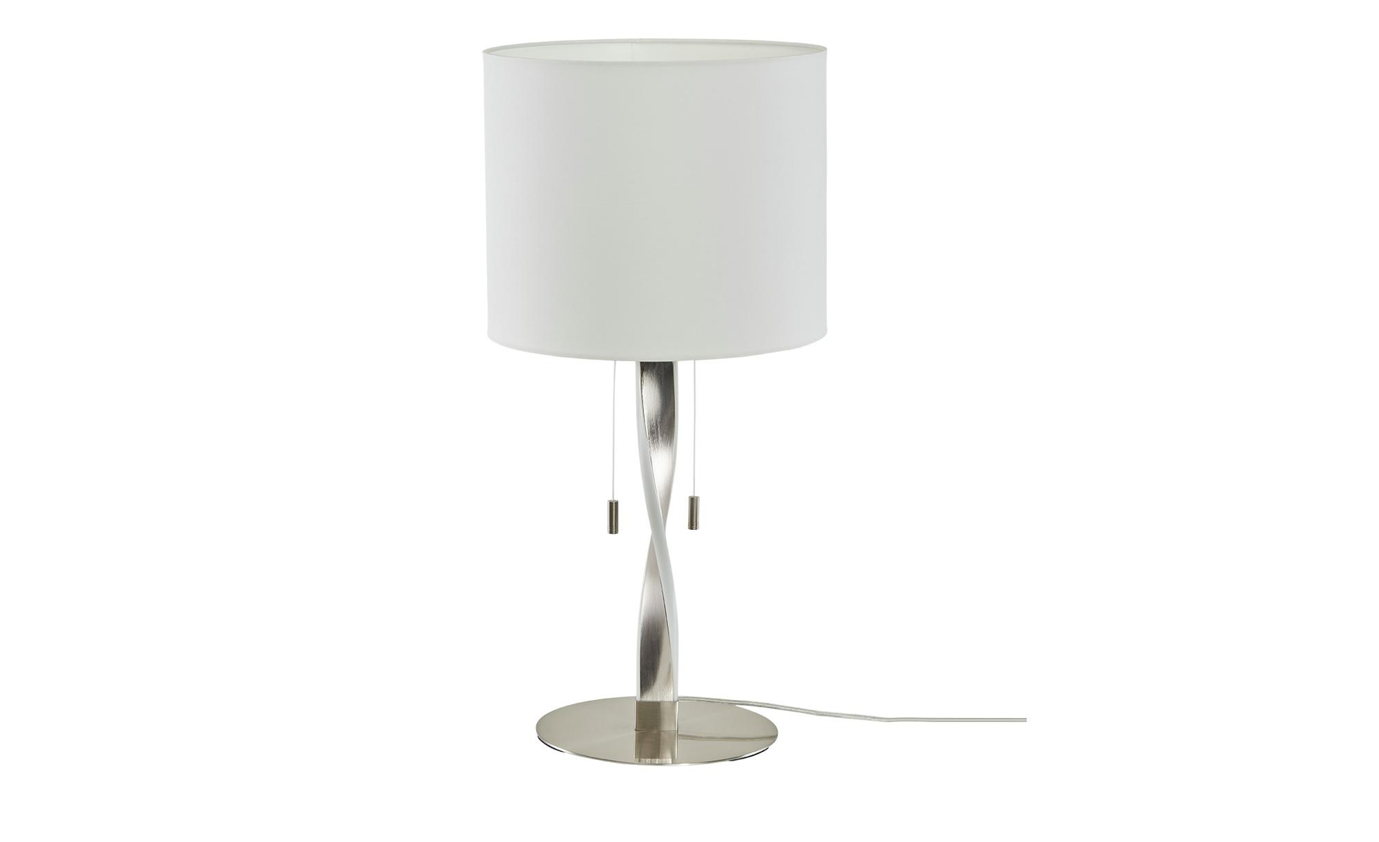 Trio Tischleuchte, NIckel matt mit Stoffschirm ¦ silber ¦ Maße (cm): H: 62 Ø: 30 Lampen & Leuchten > Innenleuchten > Tischlampen - Höffner