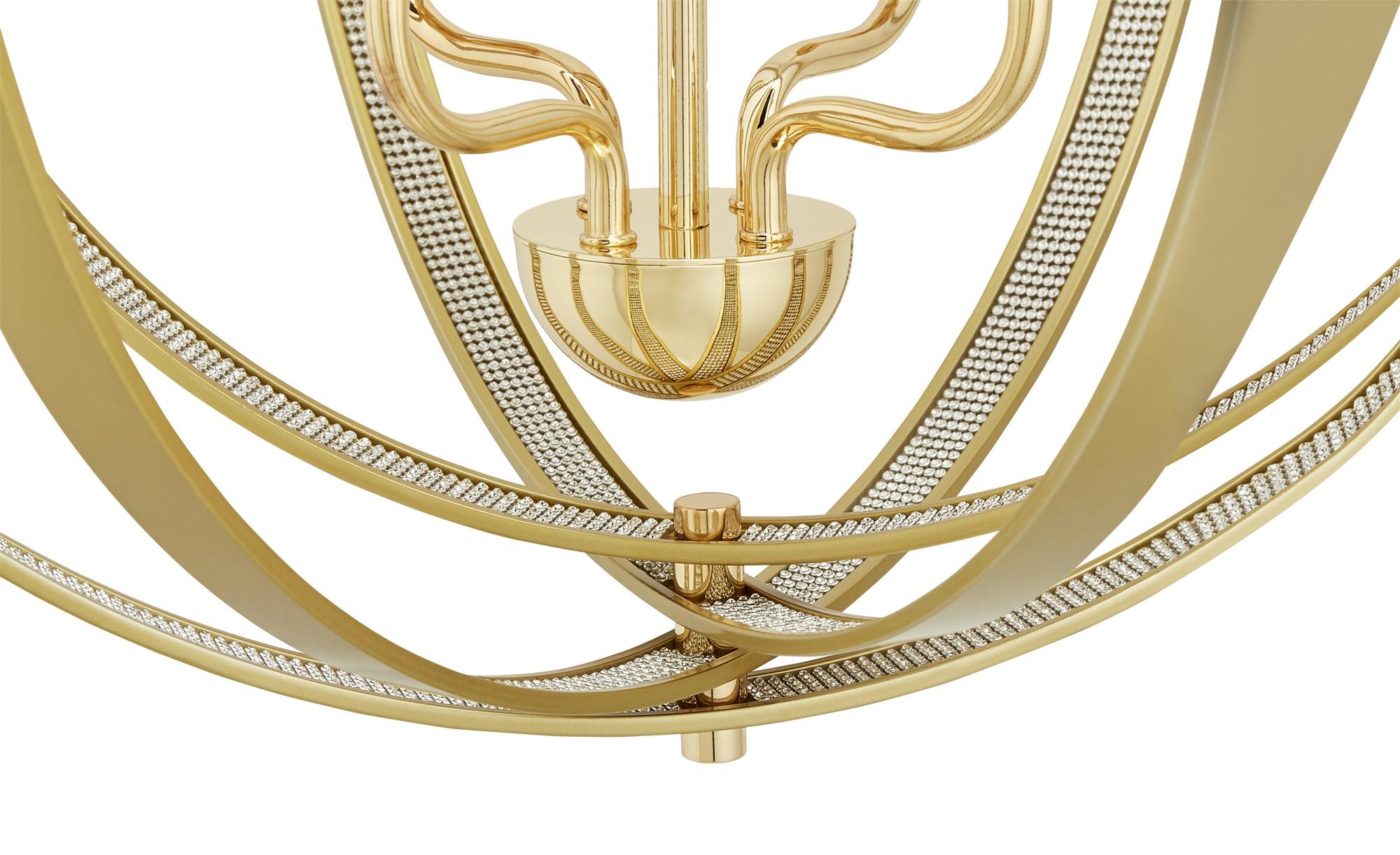 Trio Kronleuchter, 4-flammig ¦ gold ¦ Maße (cm): H: 150 Ø: 56 Lampen & Leuchten > Innenleuchten > Kronleuchter - Höffner