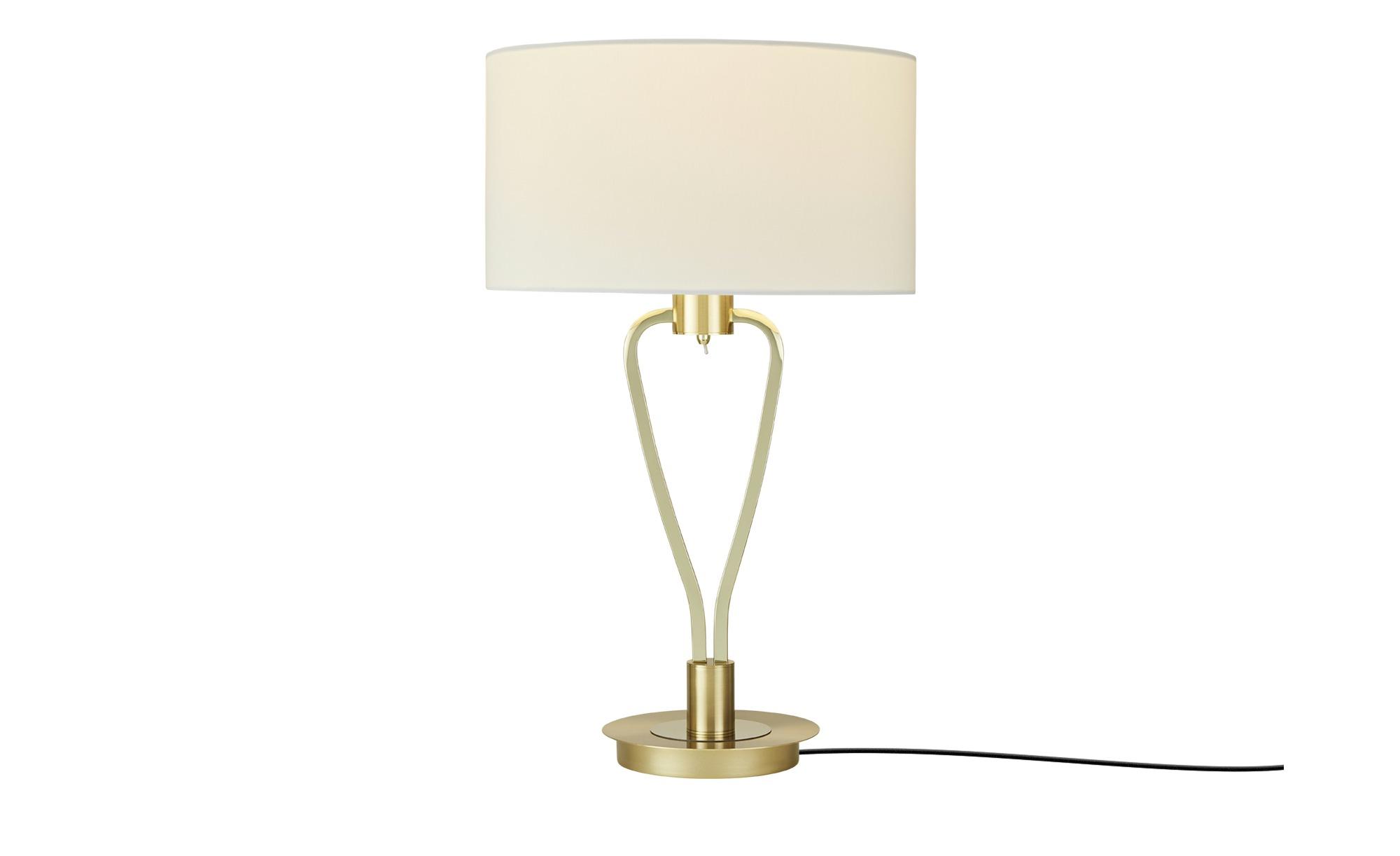 Tischleuchte, 1-flammig, Weiß ¦ gold ¦ Maße (cm): H: 58 Ø: [35.0] Lampen & Leuchten > Innenleuchten > Tischlampen - Höffner