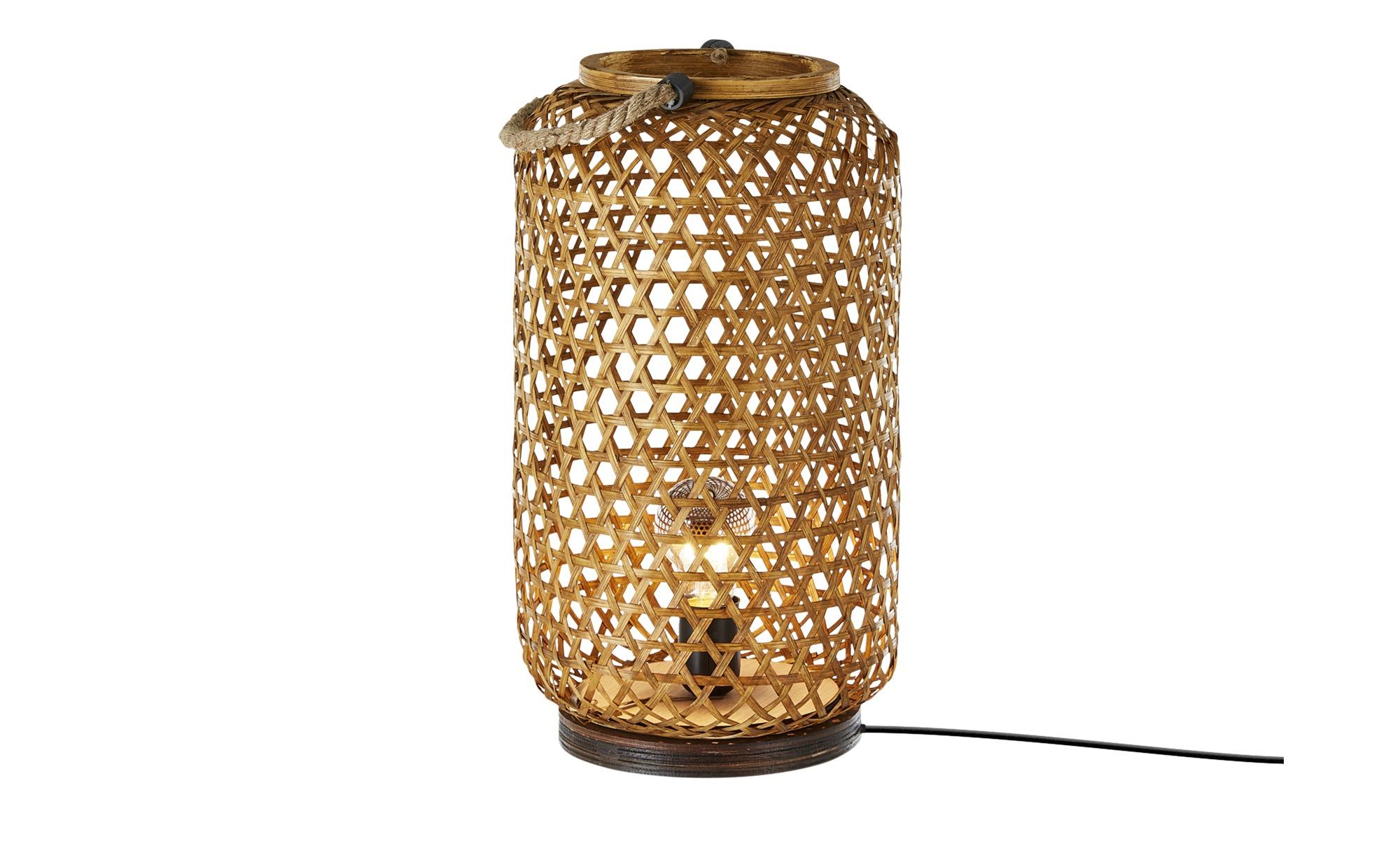 Tischleuchte, 1-flammig, Korbgeflecht ¦ braun ¦ Maße (cm): H: 45 Ø: [25.0] Lampen & Leuchten > Innenleuchten > Tischlampen - Höffner
