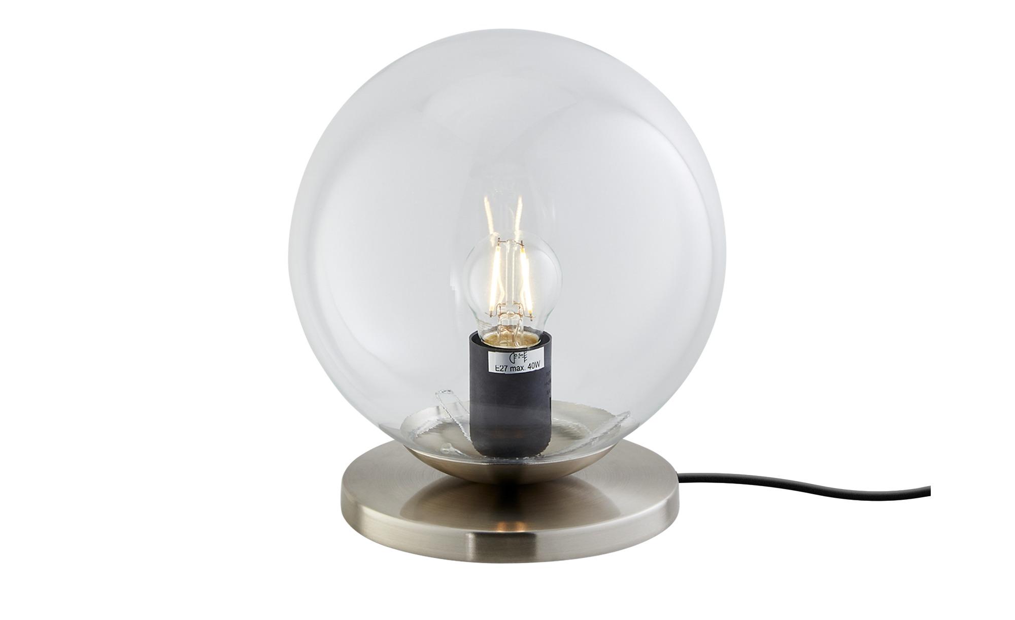 Tischleuchte, 1-flammig, Glas klar ¦ silber ¦ Maße (cm): H: 22,3 Ø: [20.0] Lampen & Leuchten > Innenleuchten > Tischlampen - Höffner