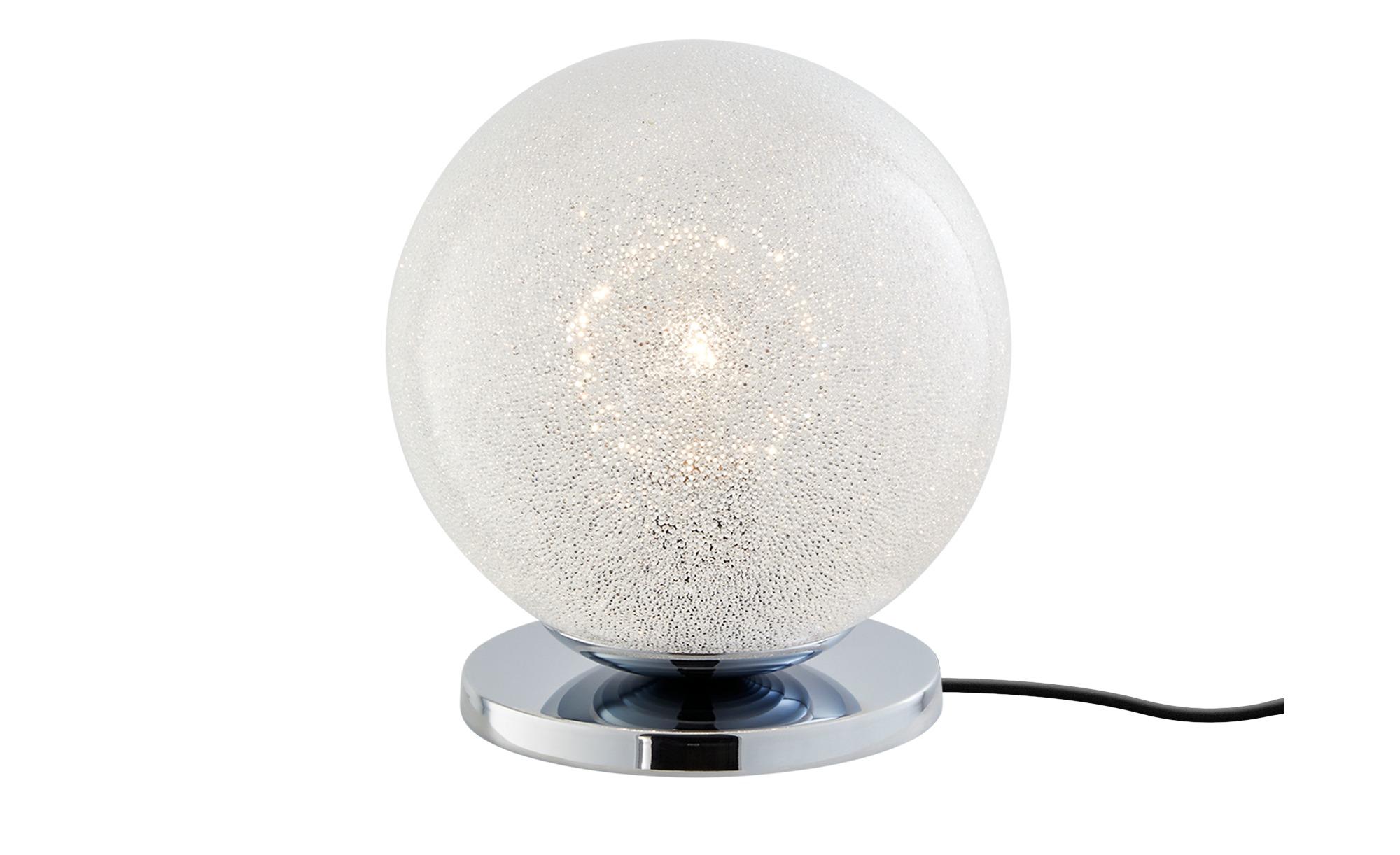 Tischleuchte, 1-flammig, Glas in Kristalloptik ¦ silber ¦ Maße (cm): H: 22,3 Ø: [20.0] Lampen & Leuchten > Innenleuchten > Tischlampen - Höffner