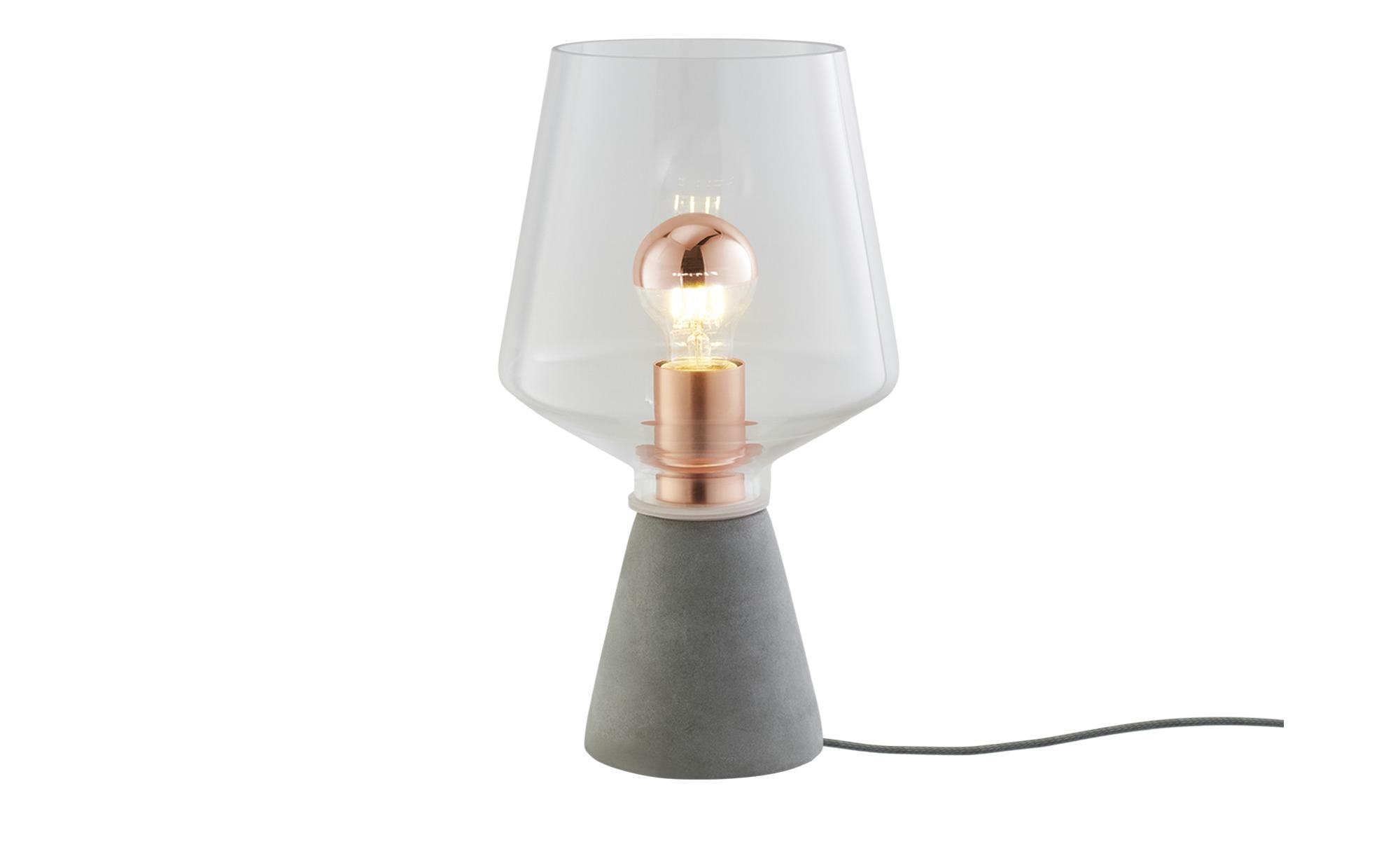 Tischleuchte, 1-flammig, Rauchglas ¦ grau ¦ Maße (cm): H: 35 Ø: 20 Lampen & Leuchten > Innenleuchten > Tischlampen - Höffner