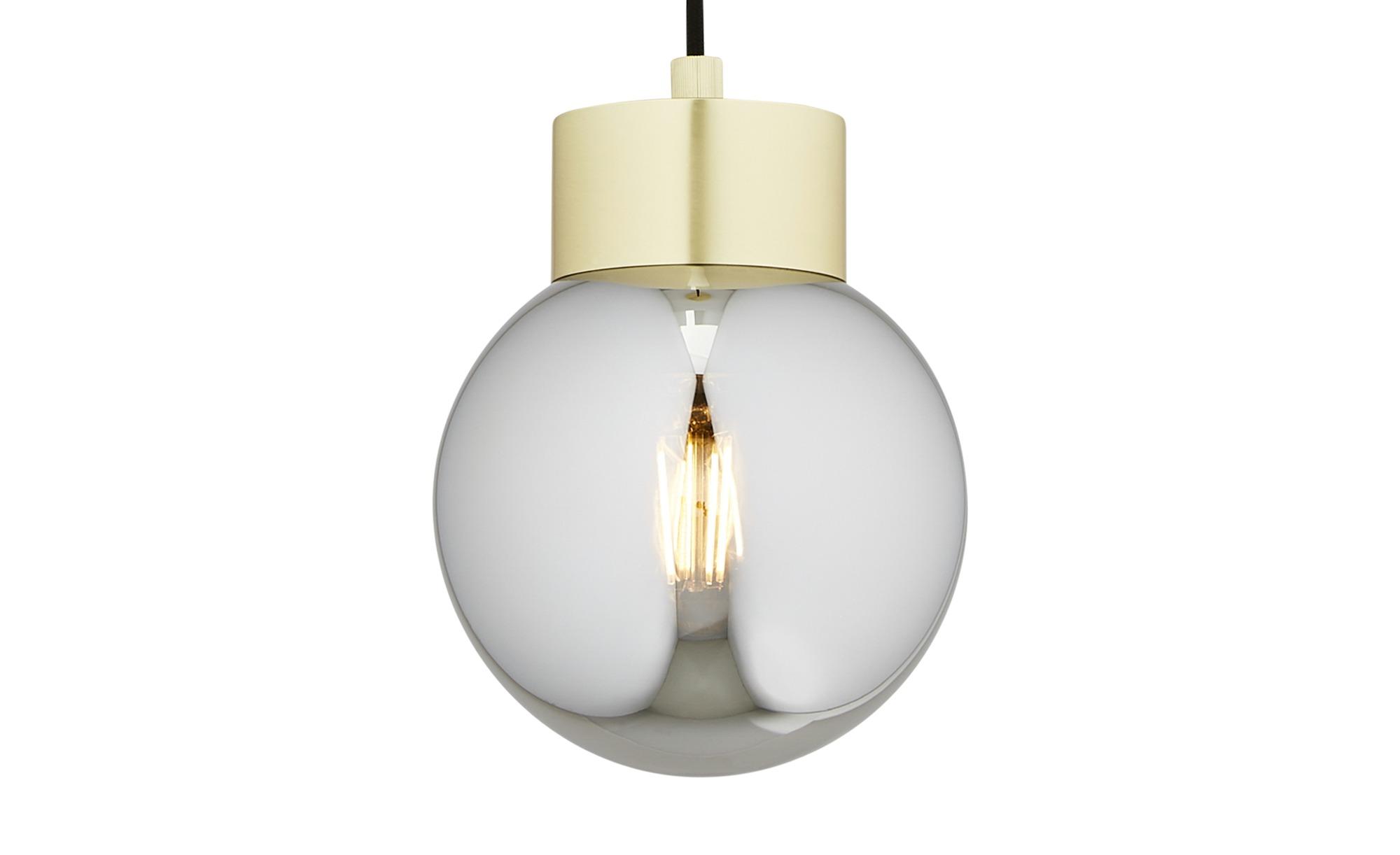 Pendelleuchte, 1-flammig, messing-matt mit Rauchglas ¦ gold ¦ Maße (cm): H: 150 Ø: 16.5 Lampen & Leuchten > Innenleuchten > Pendelleuchten - Höffner