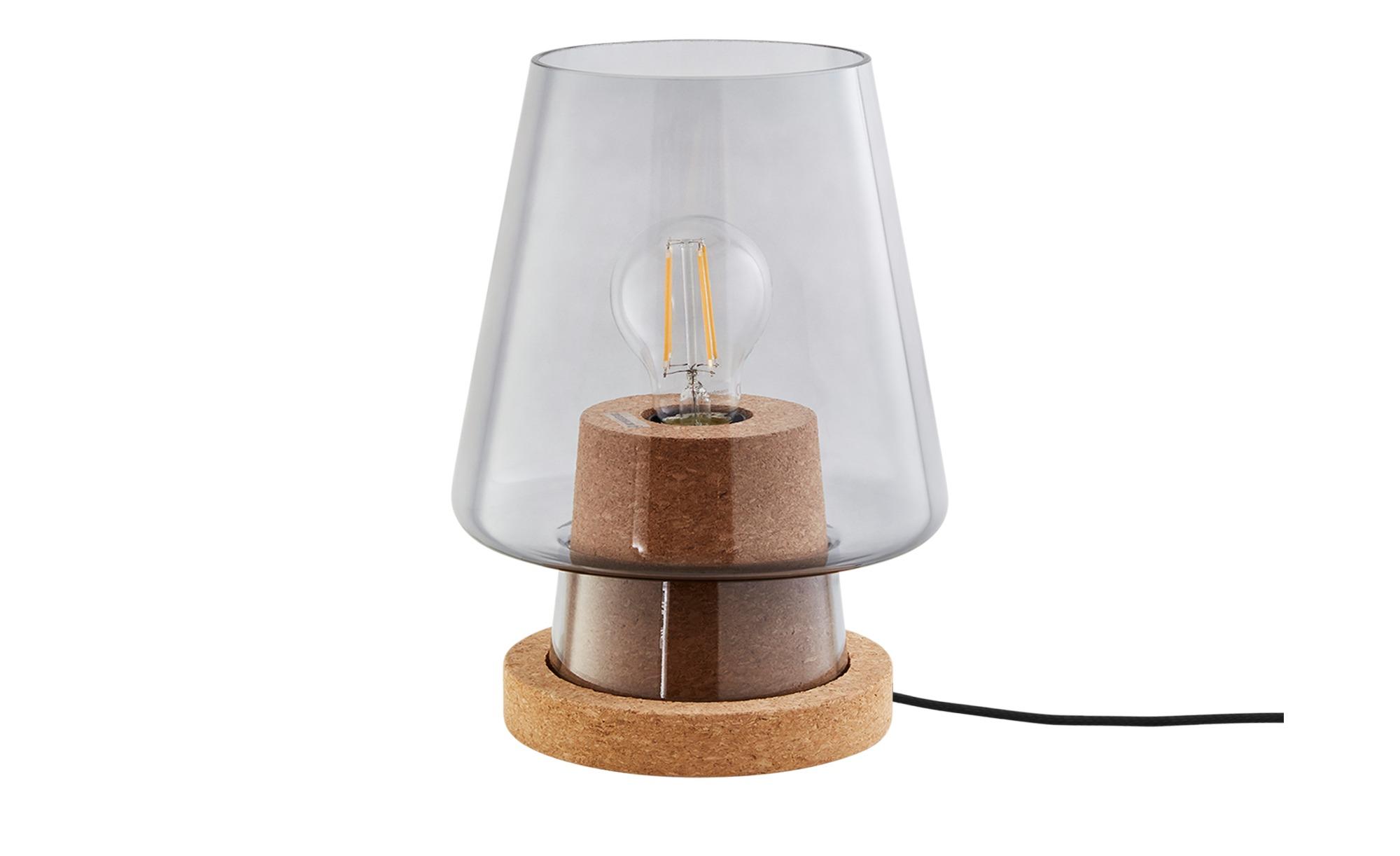 Tischleuchte, 1-flammig, Kork / Rauchglas ¦ schwarz ¦ Maße (cm): H: 25,5 Ø: 19 Lampen & Leuchten > Innenleuchten > Tischlampen - Höffner