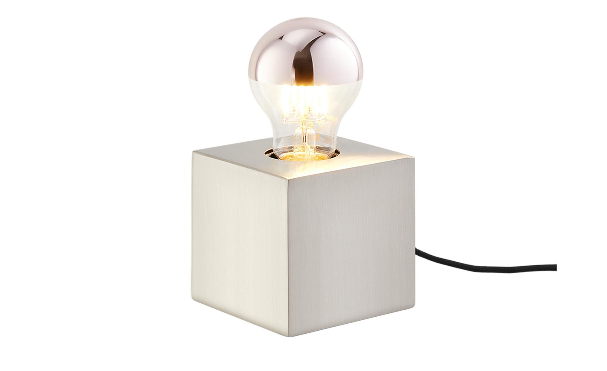 Tischleuchte, 1-flammig, Eisen gebürstet ¦ silber ¦ Maße (cm): B: 8,5 H: 8,5 T: 8,5 Lampen & Leuchten > Innenleuchten > Tischlampen - Höffner