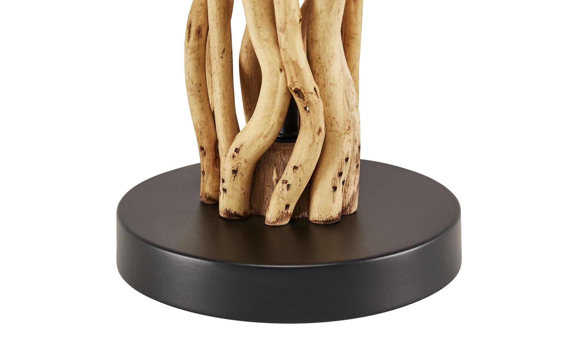 HOME STORY Tischleuchte, 1-flammig, Fuß mit Holz ¦ braun ¦ Maße (cm): H: 55 Ø: 25 Lampen & Leuchten > Innenleuchten > Tischlampen - Höffner