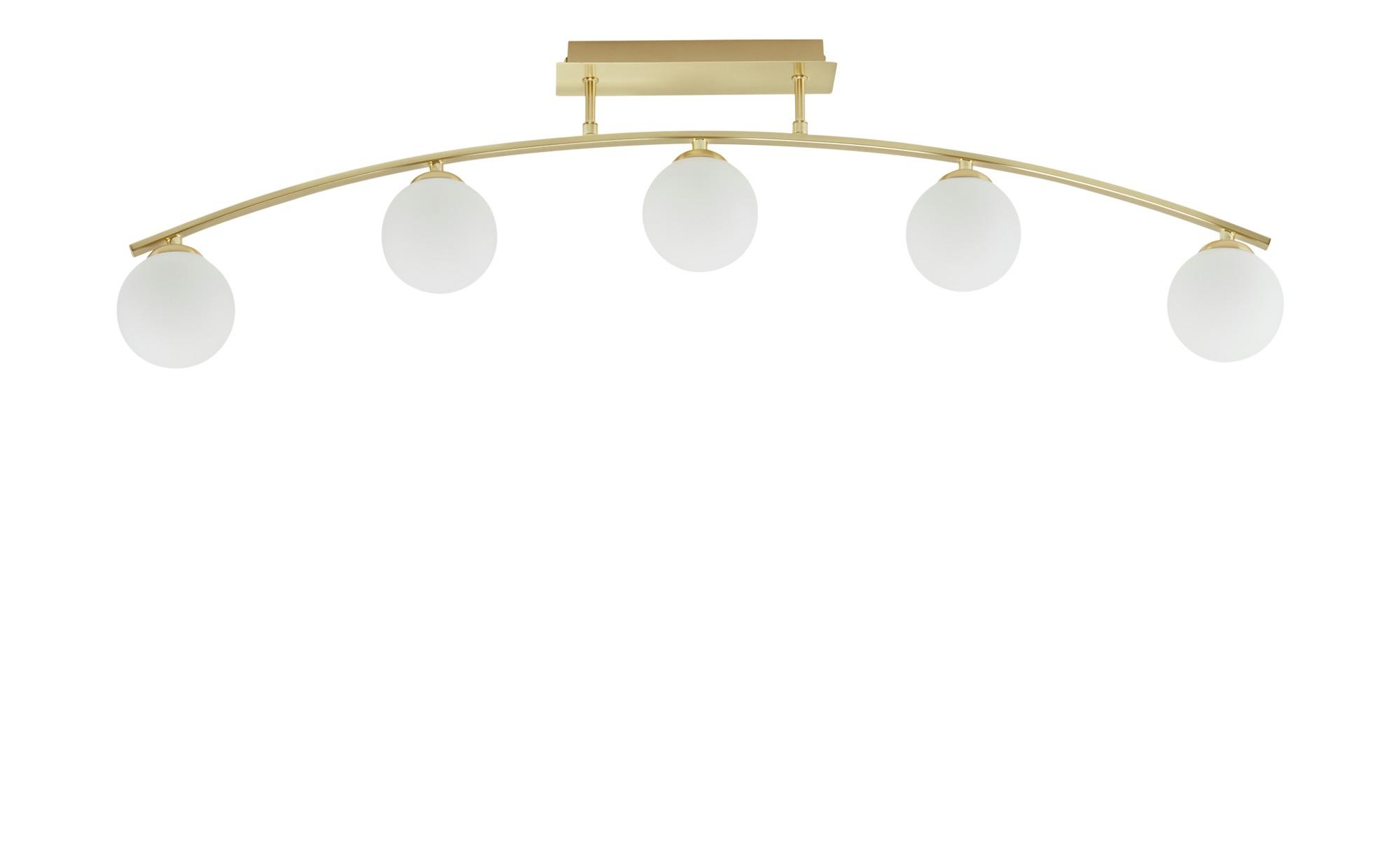 KHG Deckenleuchte, 5-flammig, ,messing mit Glaskugeln ¦ gold ¦ Maße (cm): B: 10 H: 28 Lampen & Leuchten > Innenleuchten > Deckenleuchten - Höffner