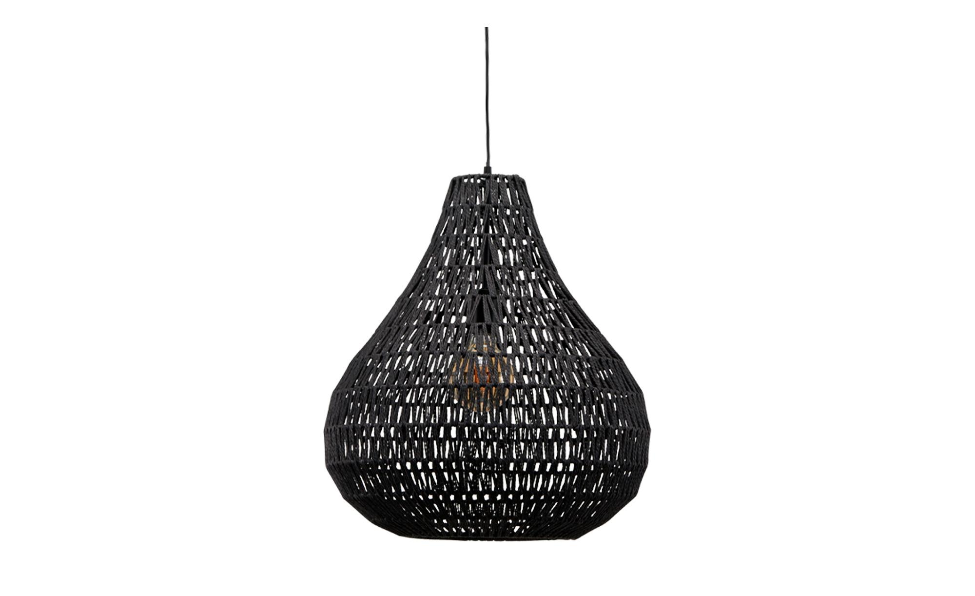 KHG Rattan-Pendelleuchte, 1-flammig, schwarz ¦ schwarz ¦ Maße (cm): H: 150 Ø: 45 Lampen & Leuchten > Innenleuchten > Pendelleuchten - Höffner