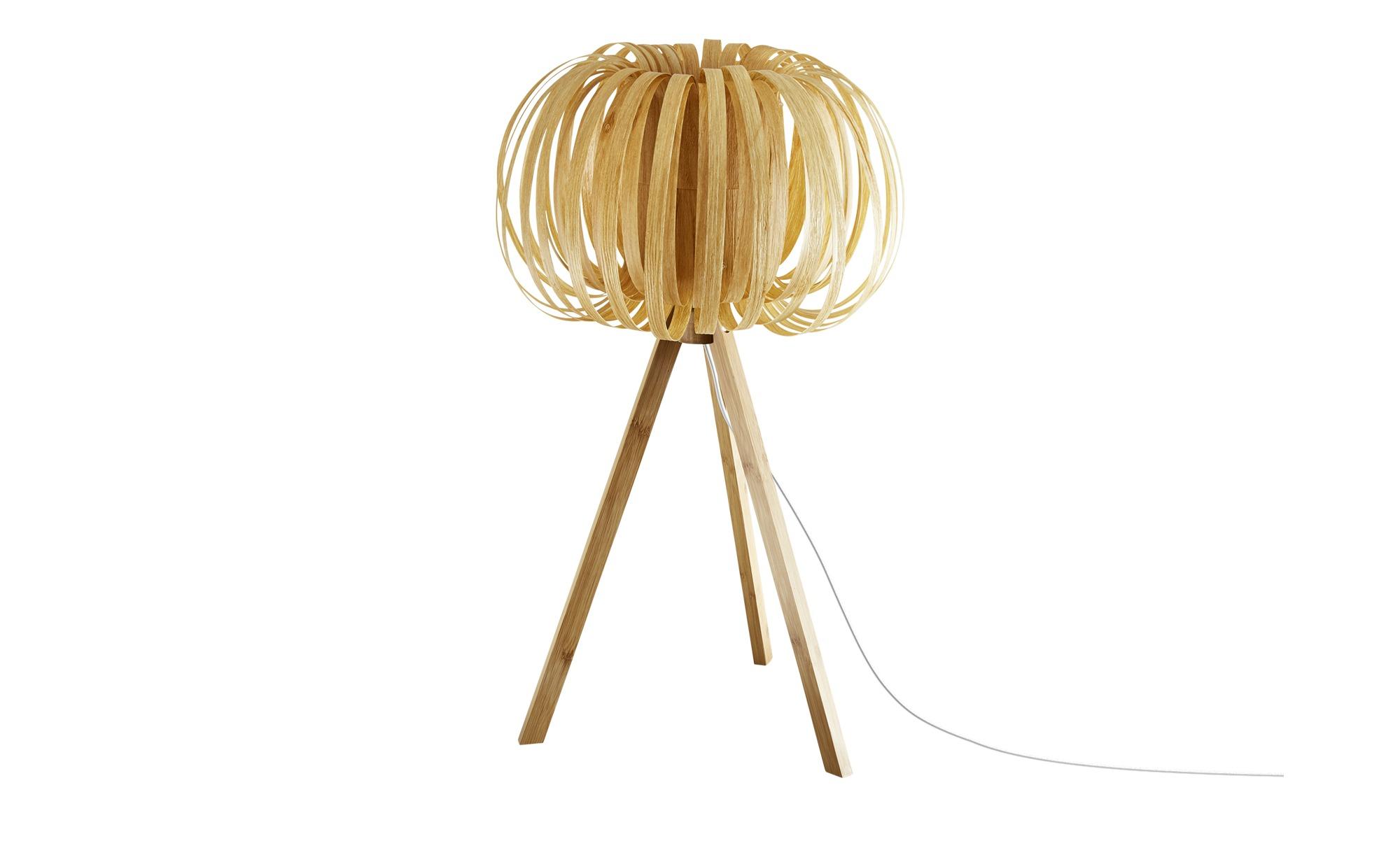 KHG Tischleuchte, 1-flammig, Schirm in Holz-Optik ¦ holzfarben ¦ Maße (cm): H: 58 Ø: 33 Lampen & Leuchten > Innenleuchten > Tischlampen - Höffner
